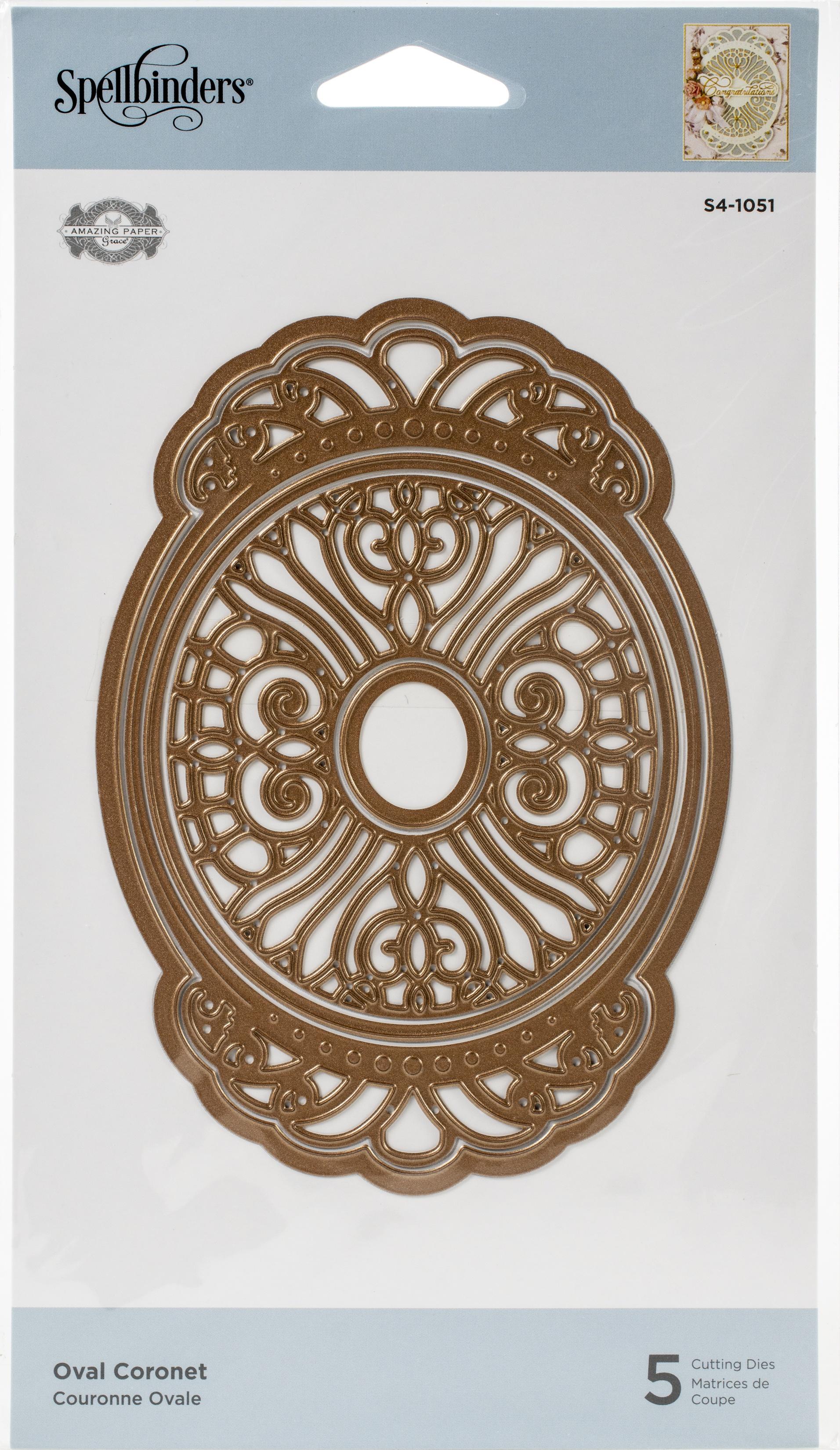 Spellbinders Flourished Fretwork Etched Die By Becca Feeken-Oval Coronet