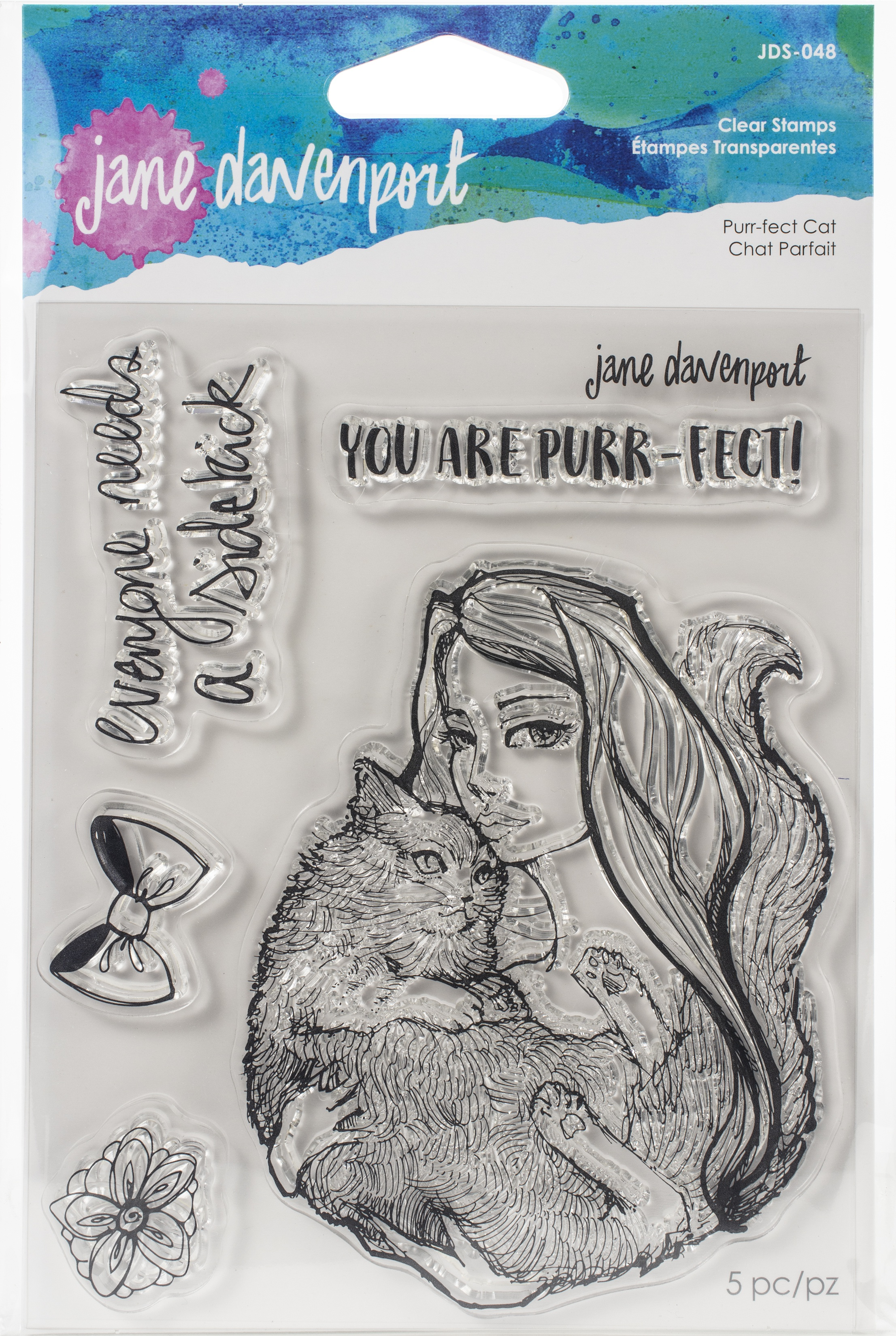 Jane Davenport Whimsical & Wild Collection Clear Stamps Set-Purr-fect Cat