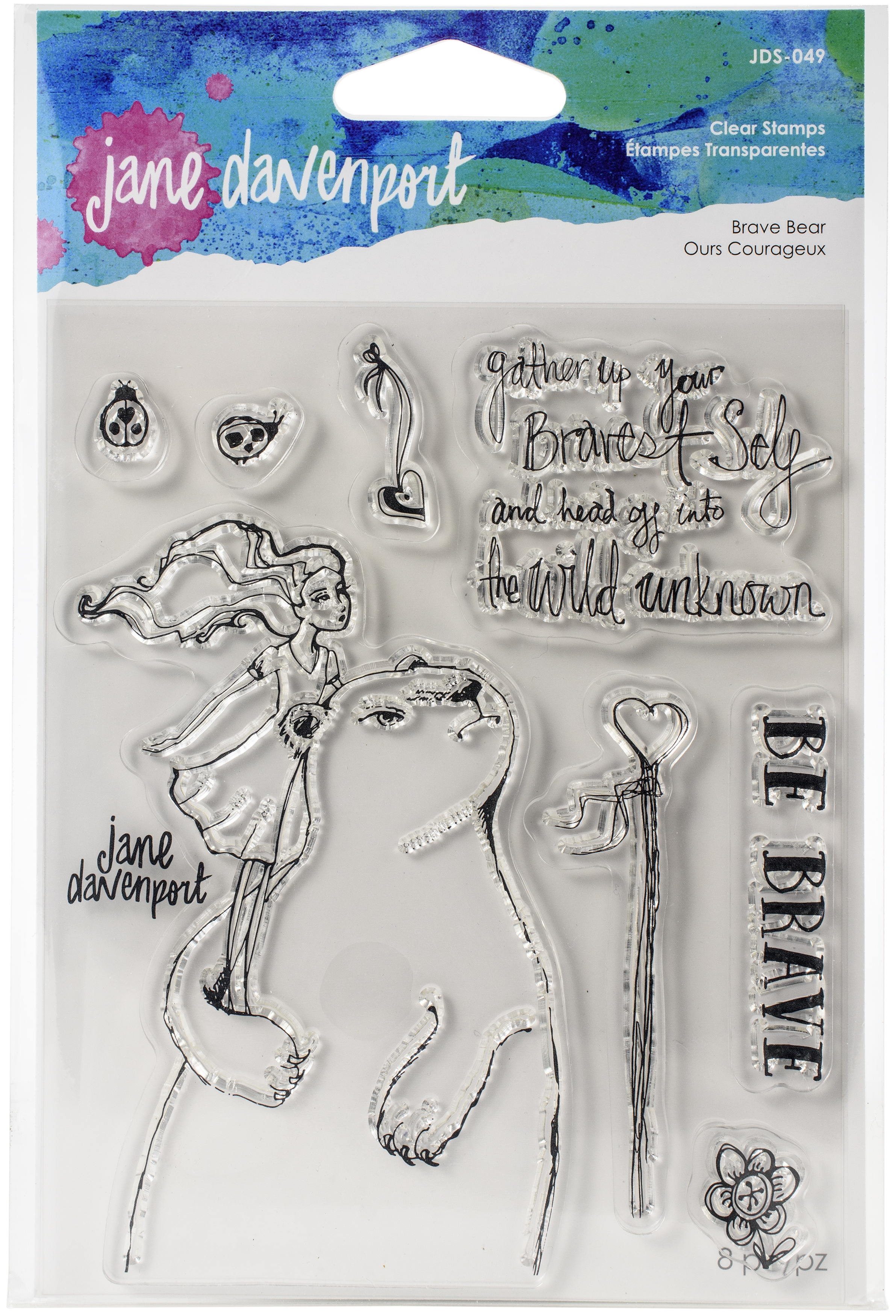 Jane Davenport Whimsical & Wild Collection Clear Stamps Set-Brave Bear
