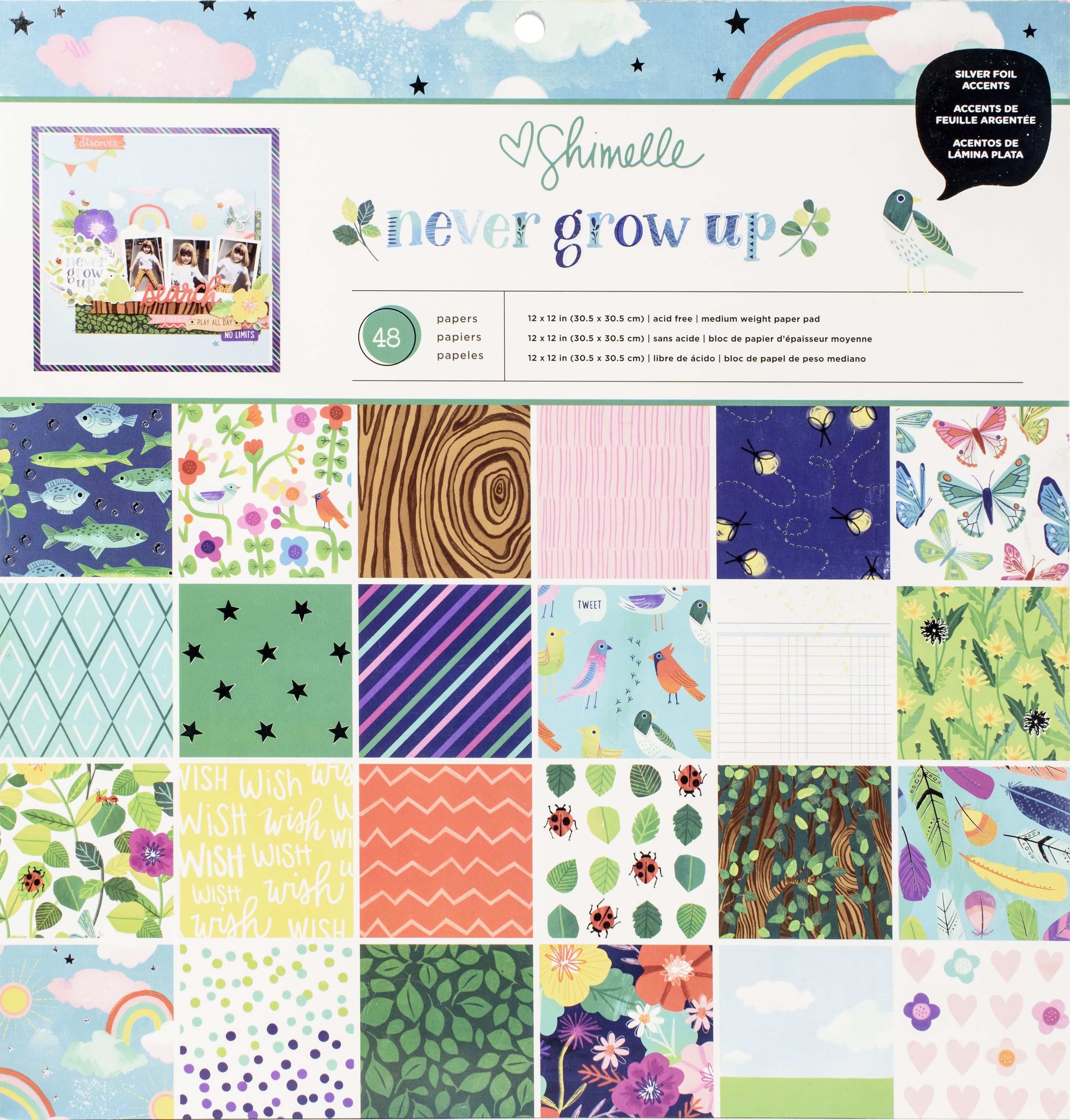 American Crafts Single-Sided Paper Pad 12X12 48/Pkg-Shimelle Never Grow Up