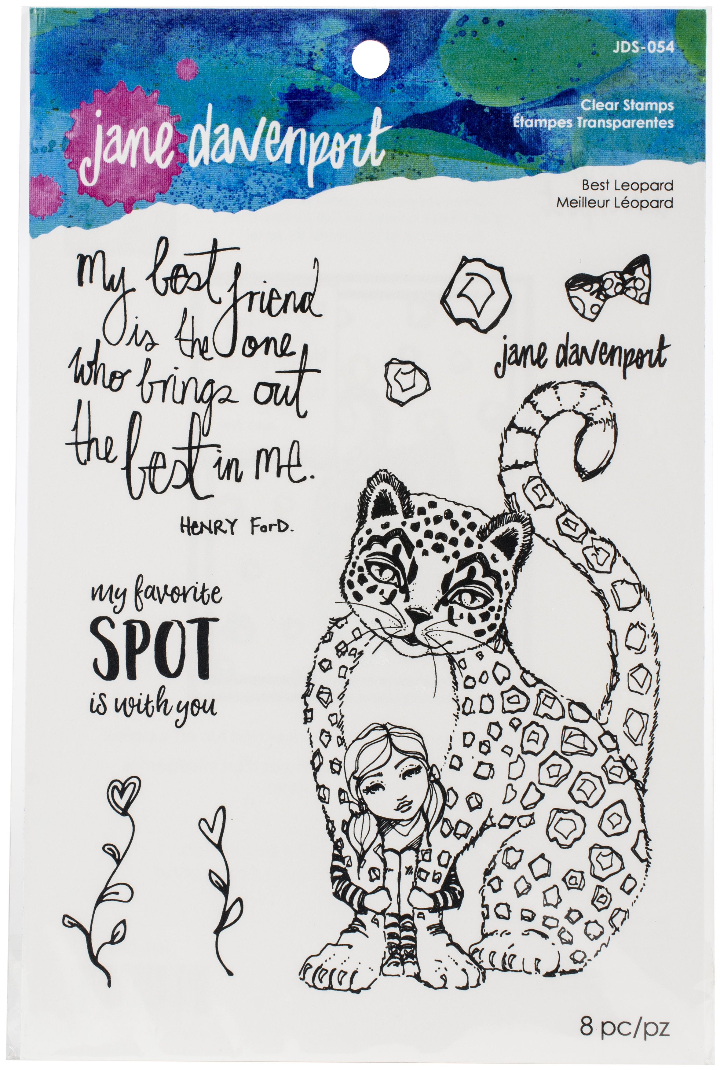 Jane Davenport Whimsical & Wild Collection Clear Stamps Set-Best Leopard