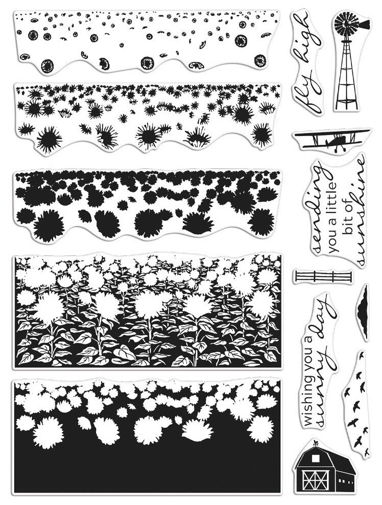 Hero Arts Color Layering Clear Stamps 4X6-Sunflower Field