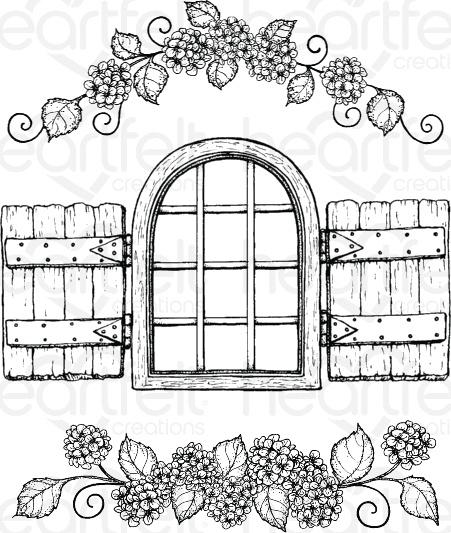 Cottage Window & Hydrangea Stamp Set