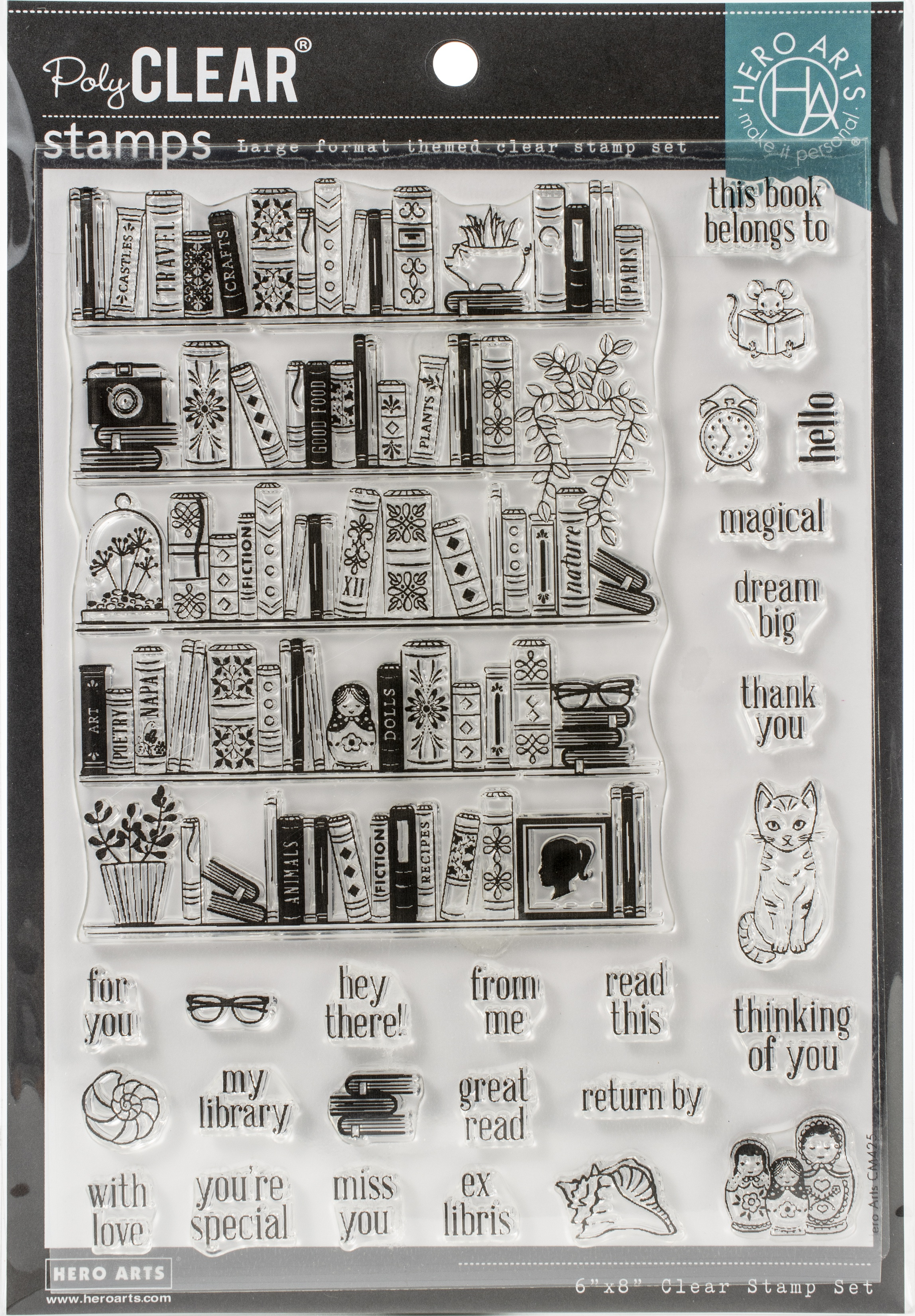 Hero Arts Color Layering Clear Stamps 4X6-Bookcase Peek-A-Boo