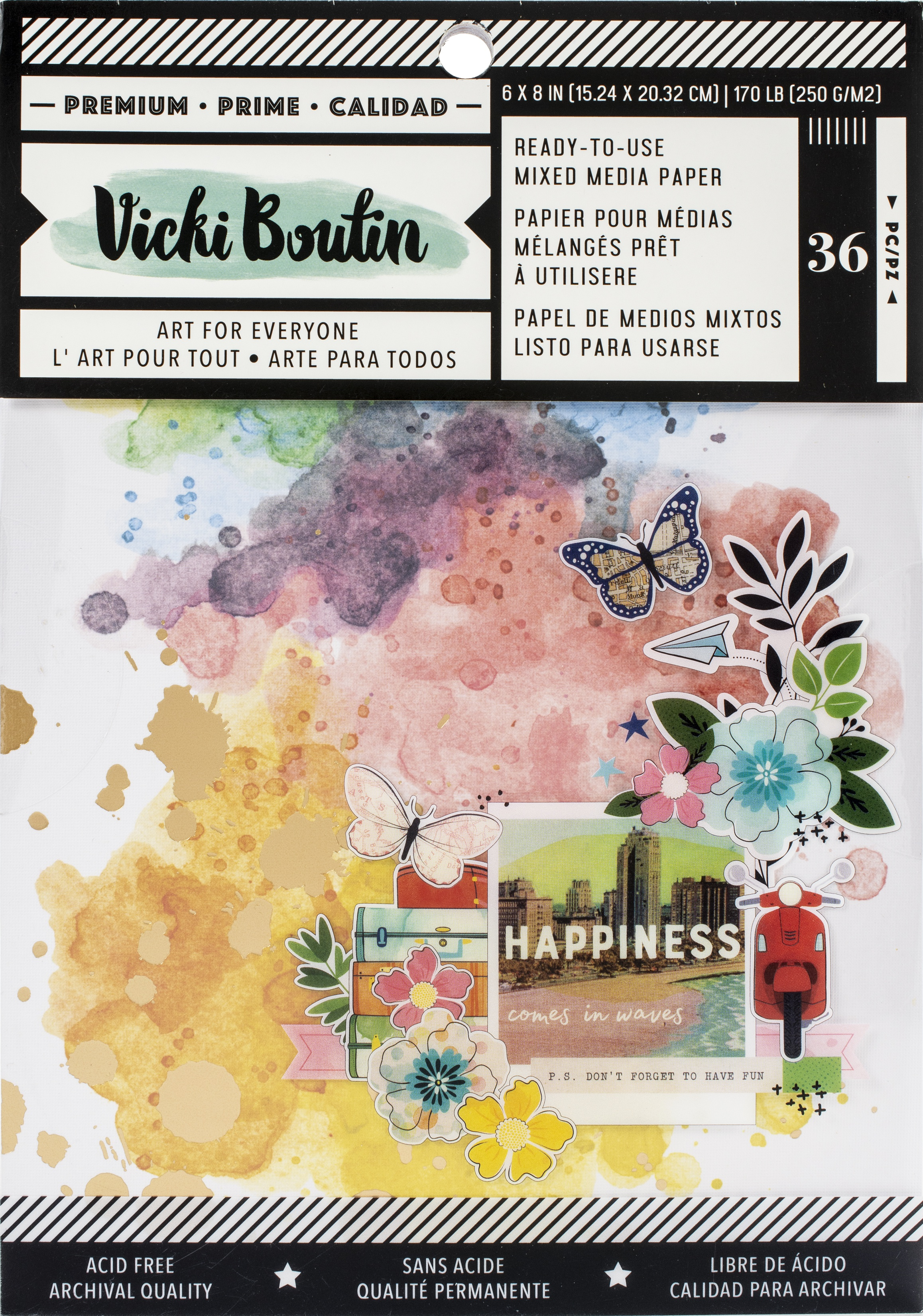 Vicki Boutin Mixed Media Backgrounds Paper 6X8 36/Pkg-Let's Wander