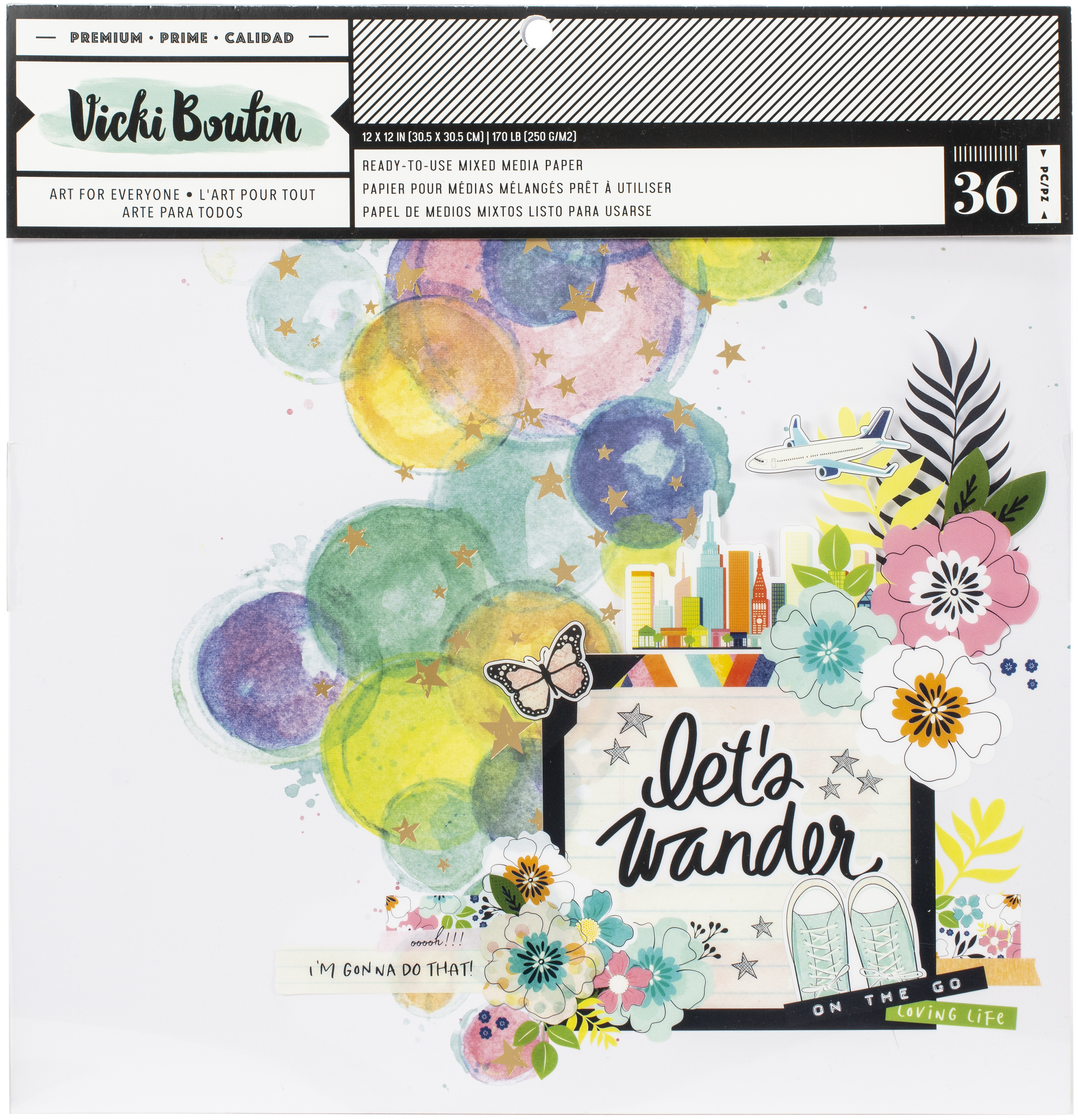 Vicki Boutin Mixed Media Backgrounds Paper 12X12 36/Pkg-Let's Wander