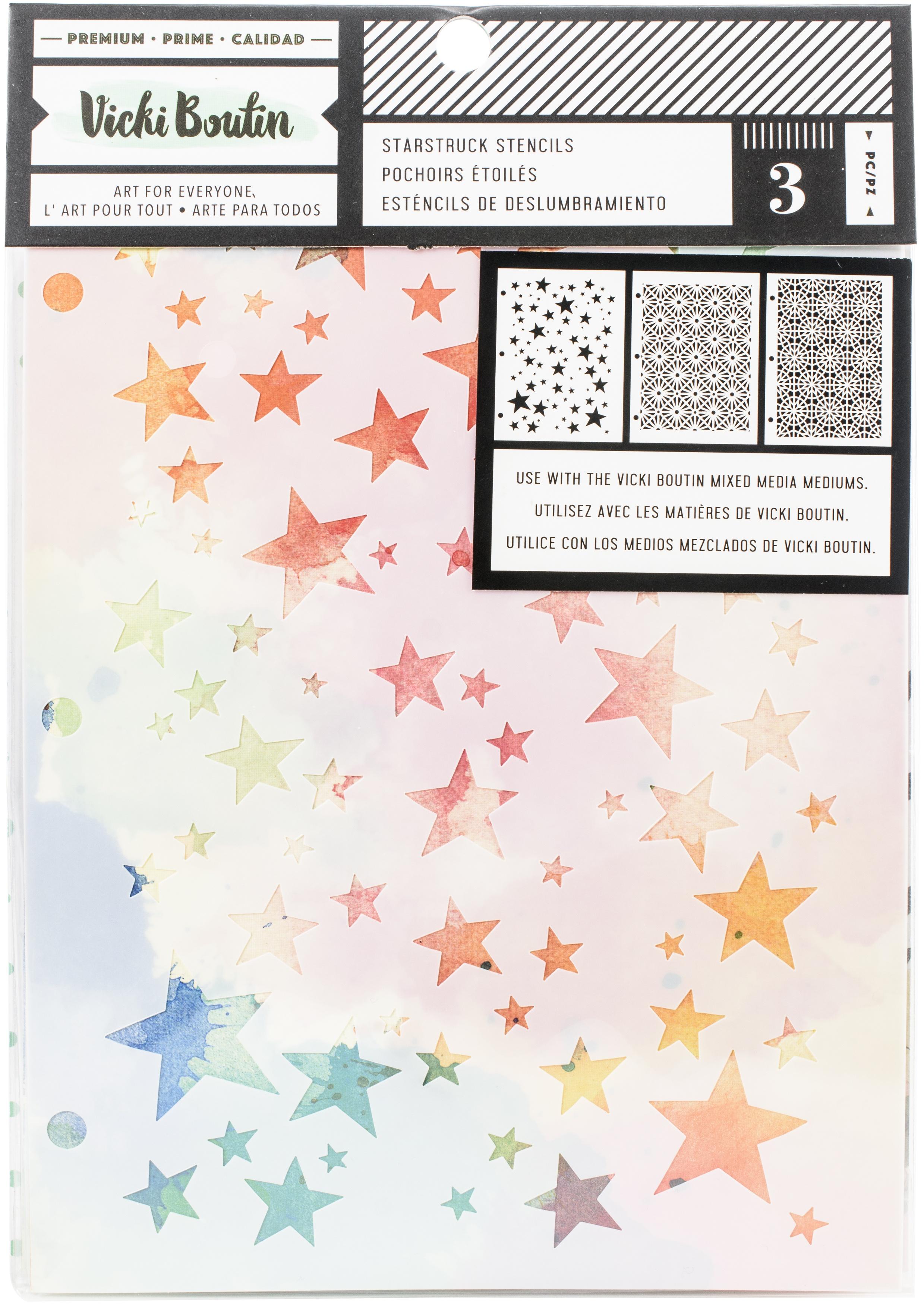 Vicki Boutin Mixed Media Stencils 3/Pkg-Starstruck, Let's Wander