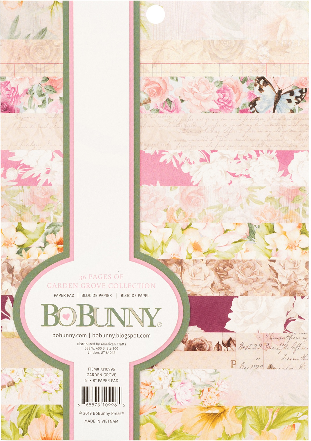BoBunny Single-Sided Paper Pad 6X8 36/Pkg-Garden Grove 12 Designs/3 Each Bundled with Noteworthy