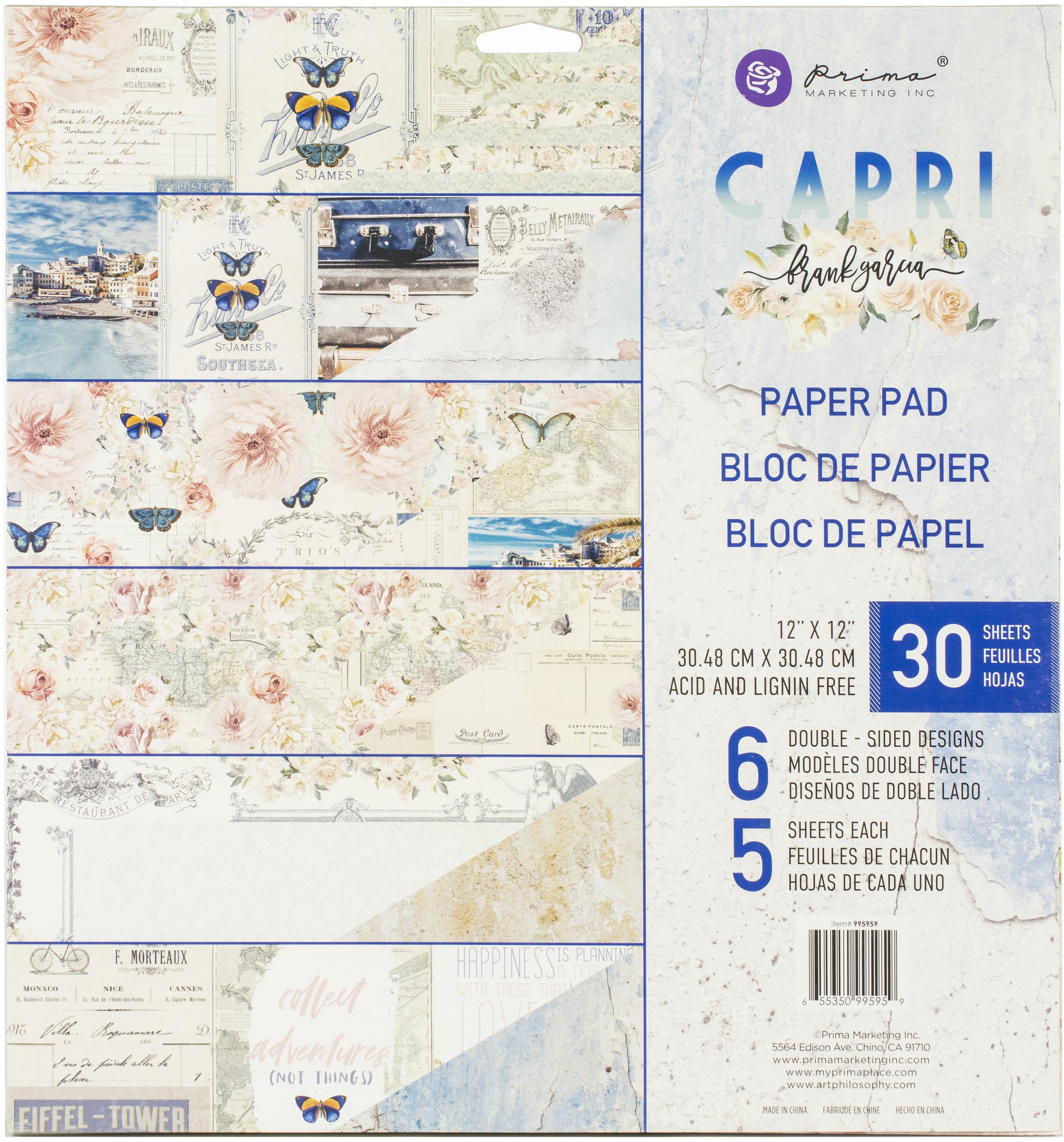 "Prima Marketing Double-Sided Paper Pad 12/""X12/"" 30//Pkg Capri 655350995959"