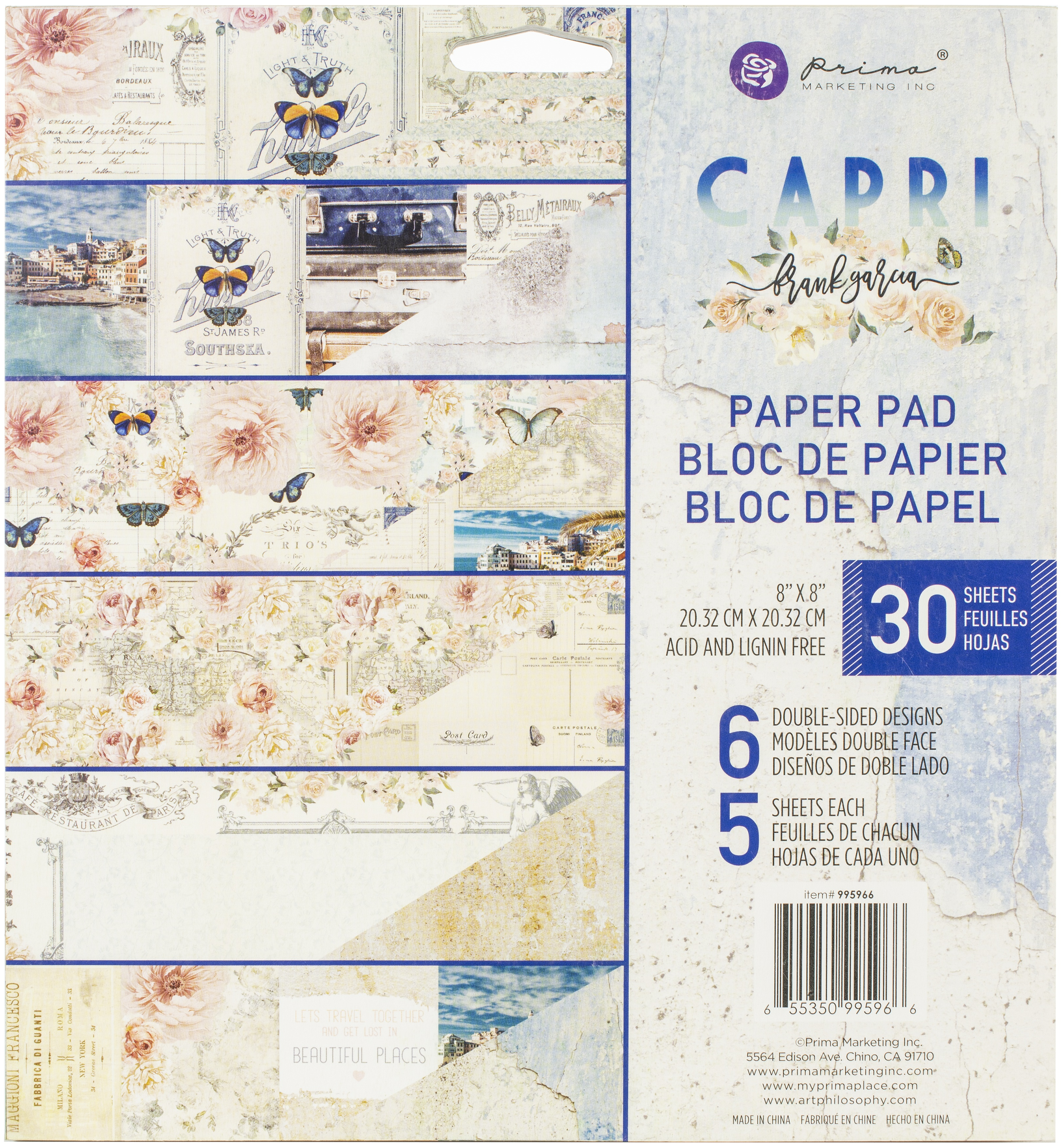 Prima Marketing Double-Sided Paper Pad 8X8 30/Pkg - Capri