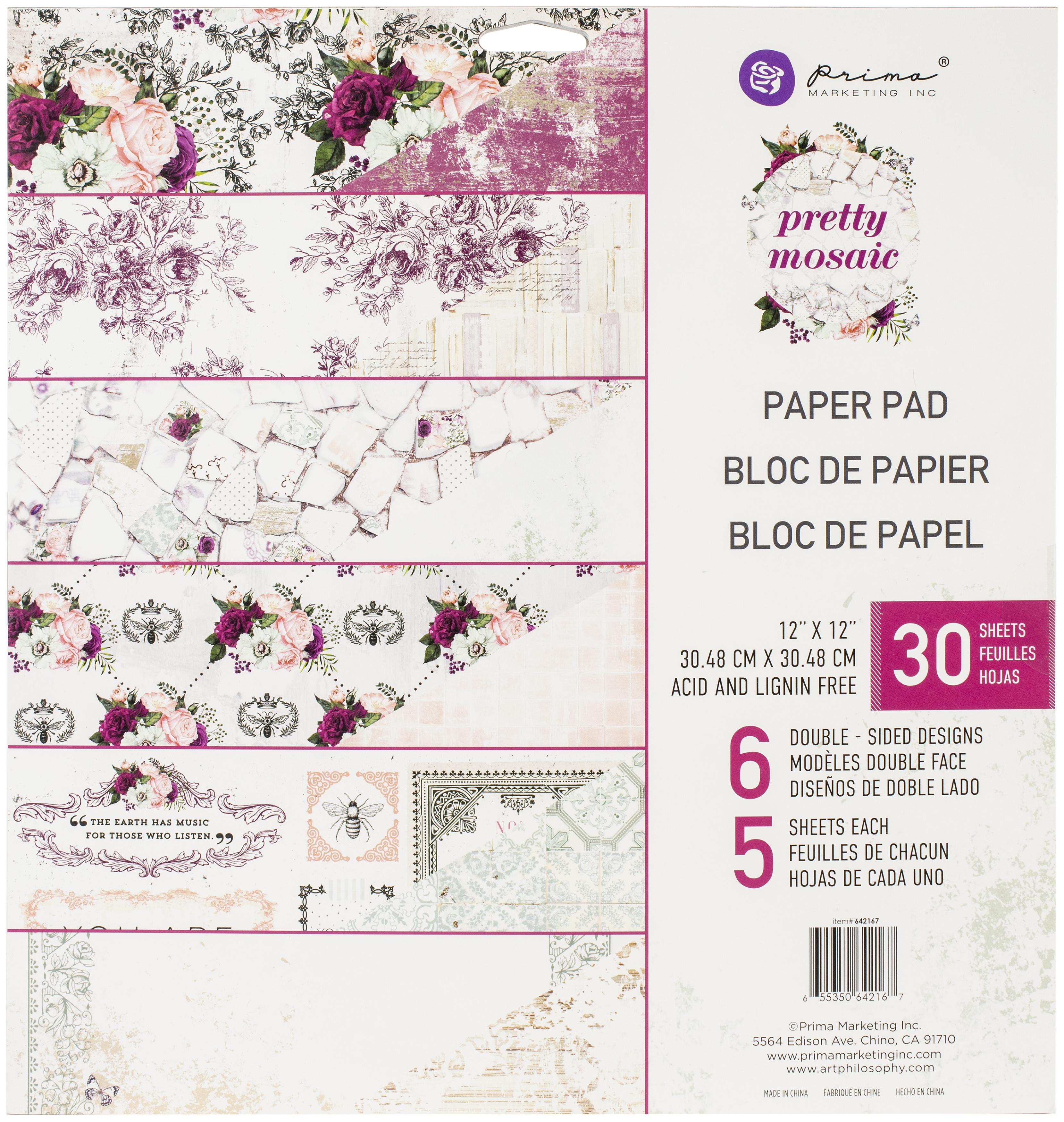 Pretty Mosaic Paper Pad 12X12 30/Pkg