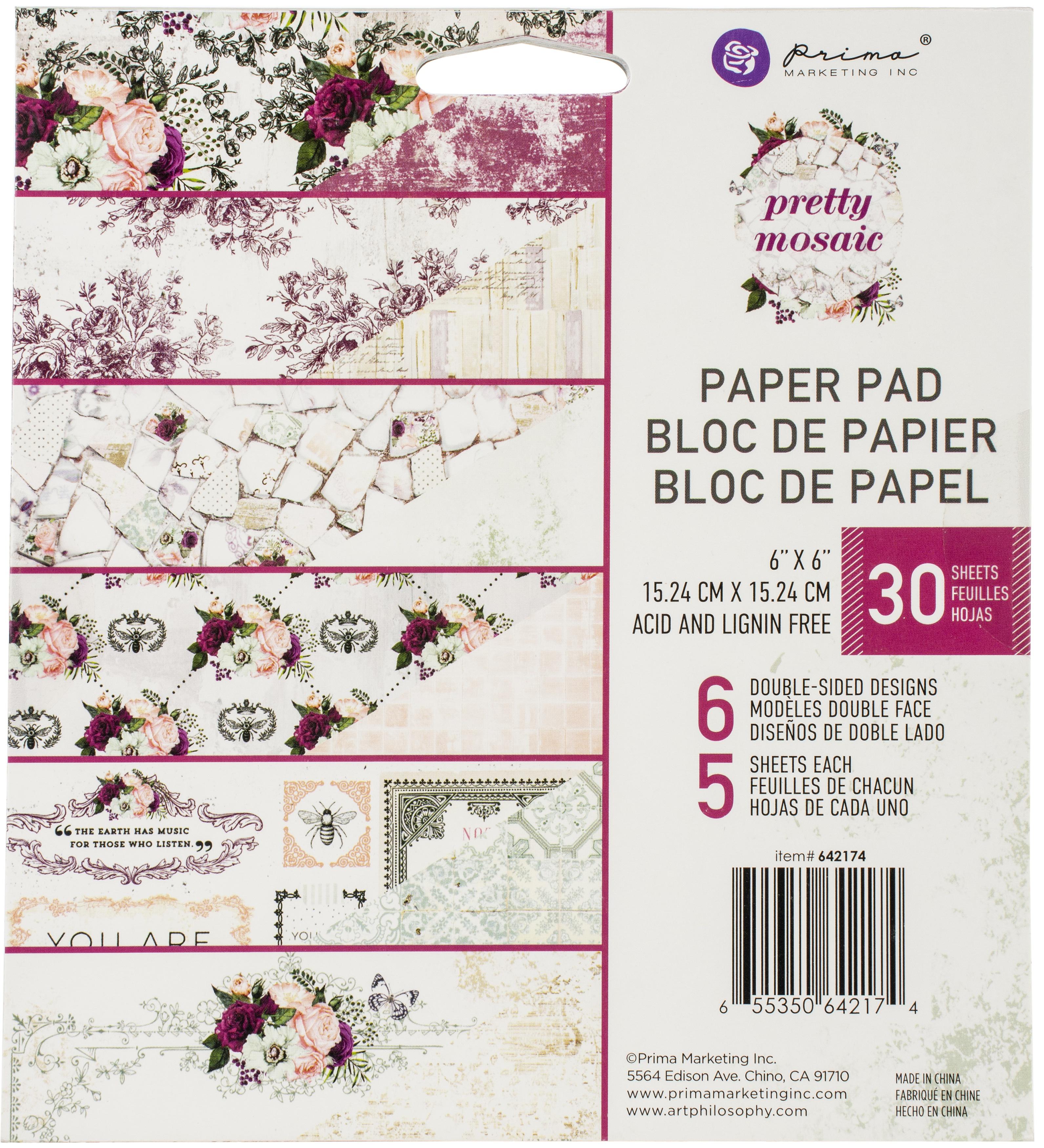 Prima Marketing Double-Sided Paper Pad 6X6 30/Pkg-Pretty Mosaic