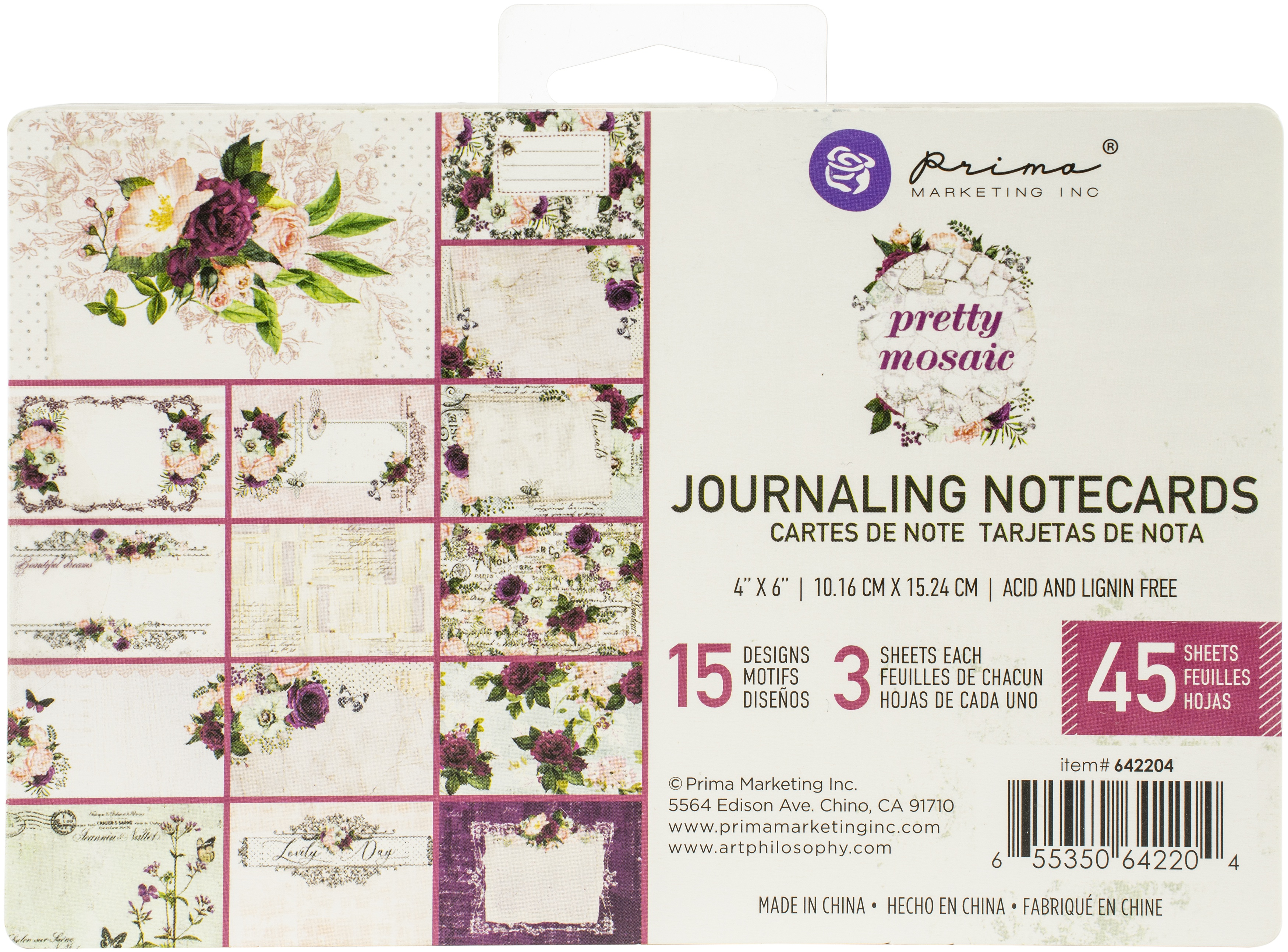 Pretty Mosaic Journaling Cards 4X6 45/Pkg-15 Designs/3 Each
