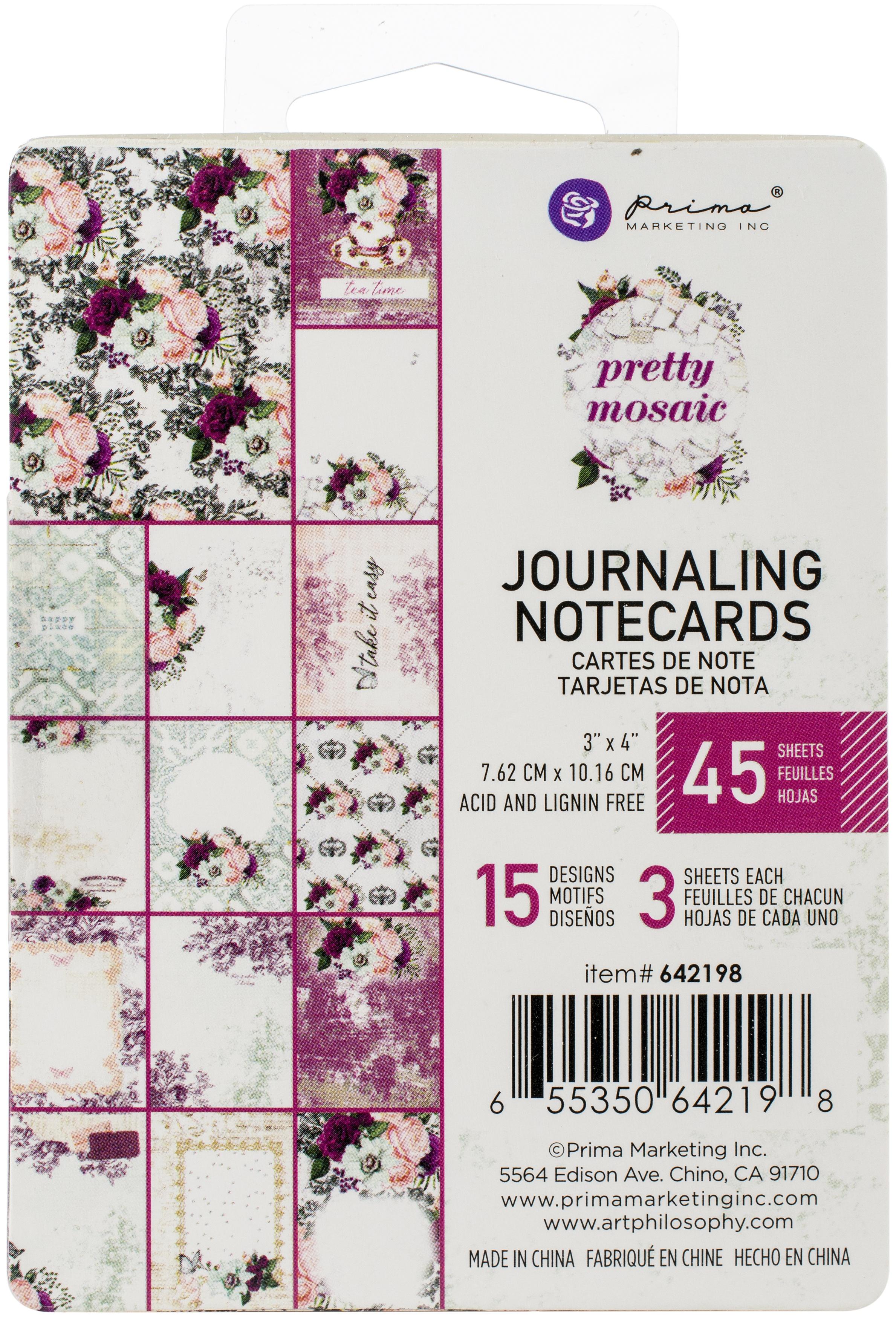 Pretty Mosaic Journaling Cards 3X4 45/Pkg-15 Designs/3 Each