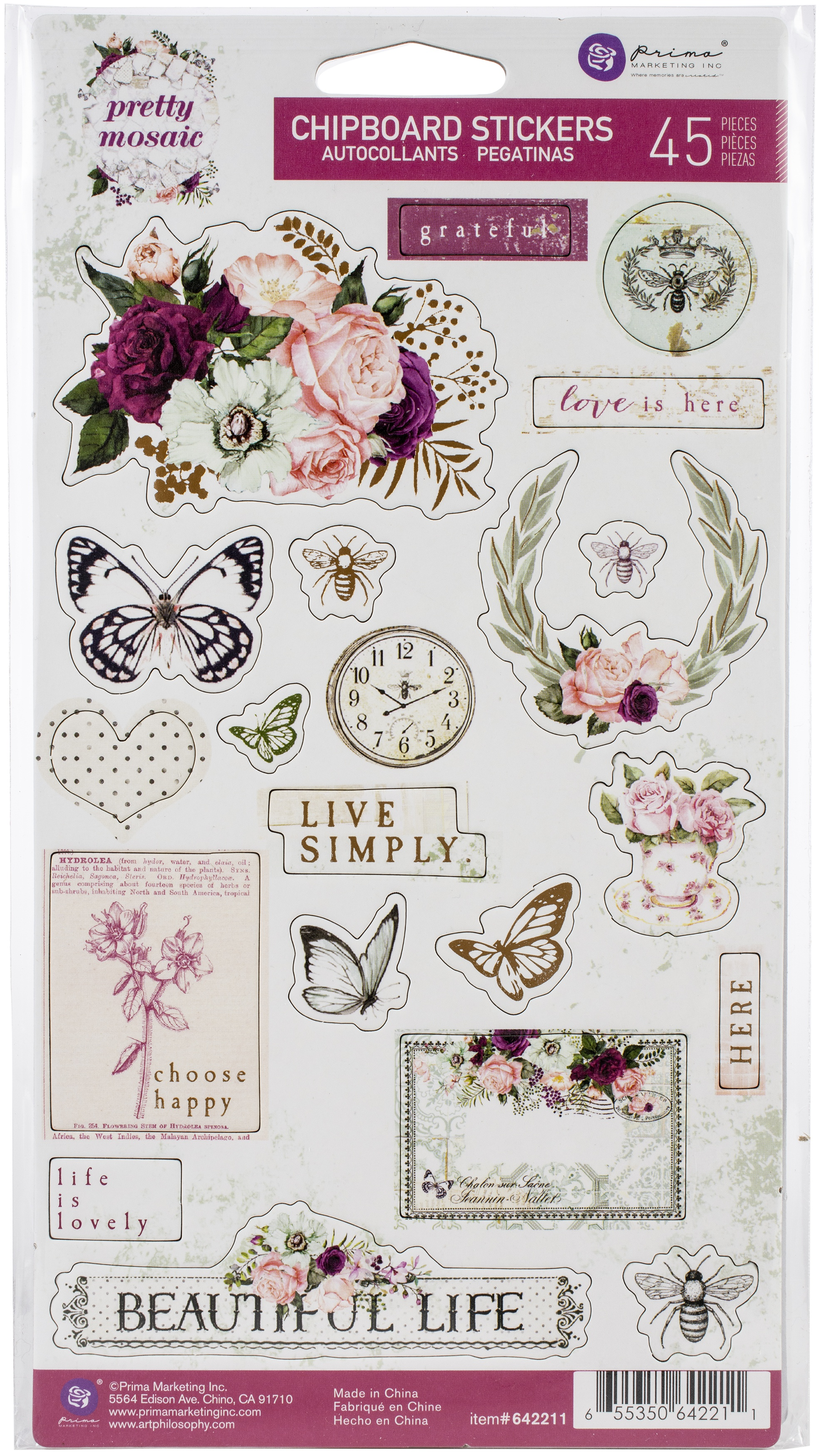 Pretty Mosaic Chipboard Stickers 45/Pkg-Icons W/Foil Accents