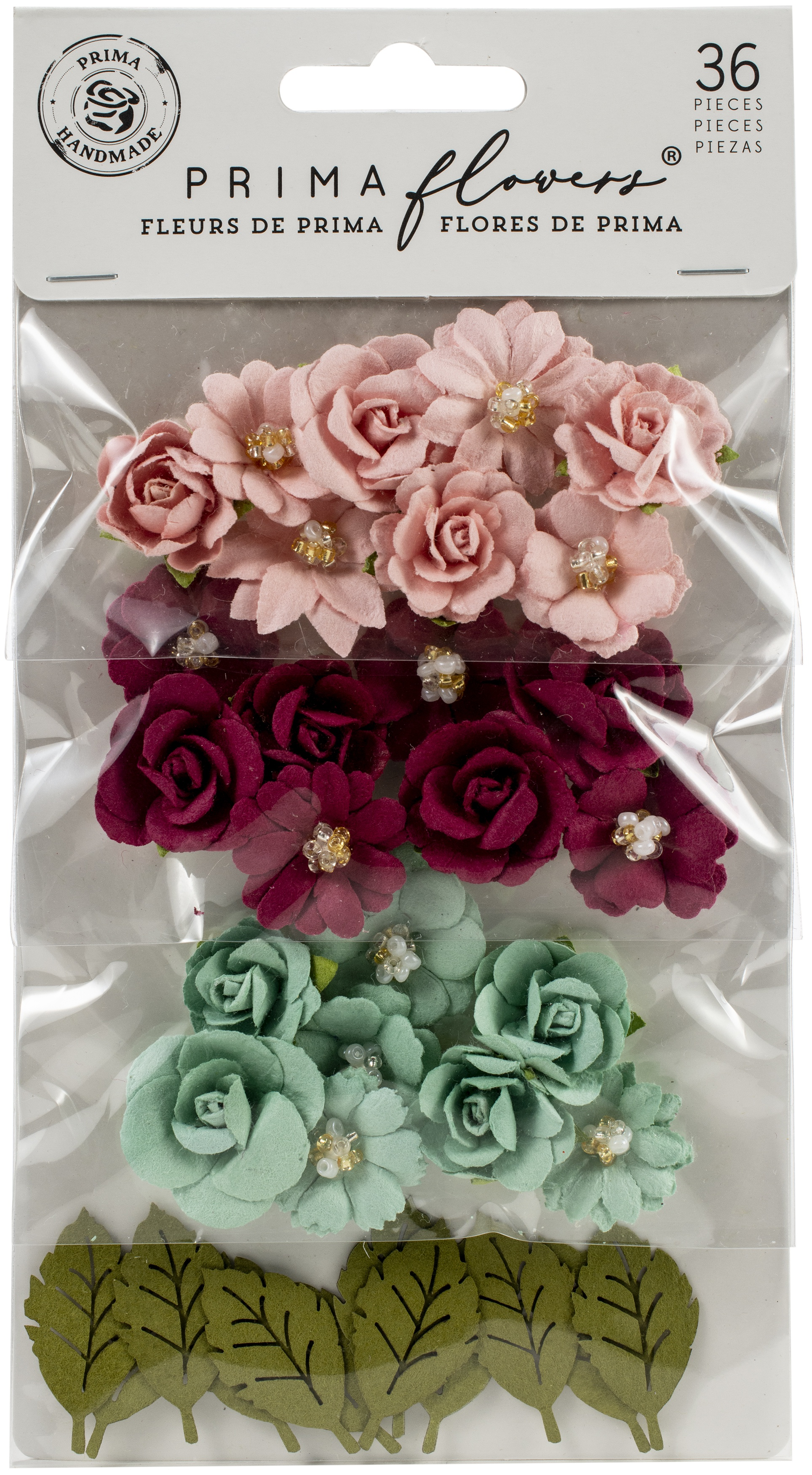 Pretty Mosaic Amazonite Mulberry Paper Flowers