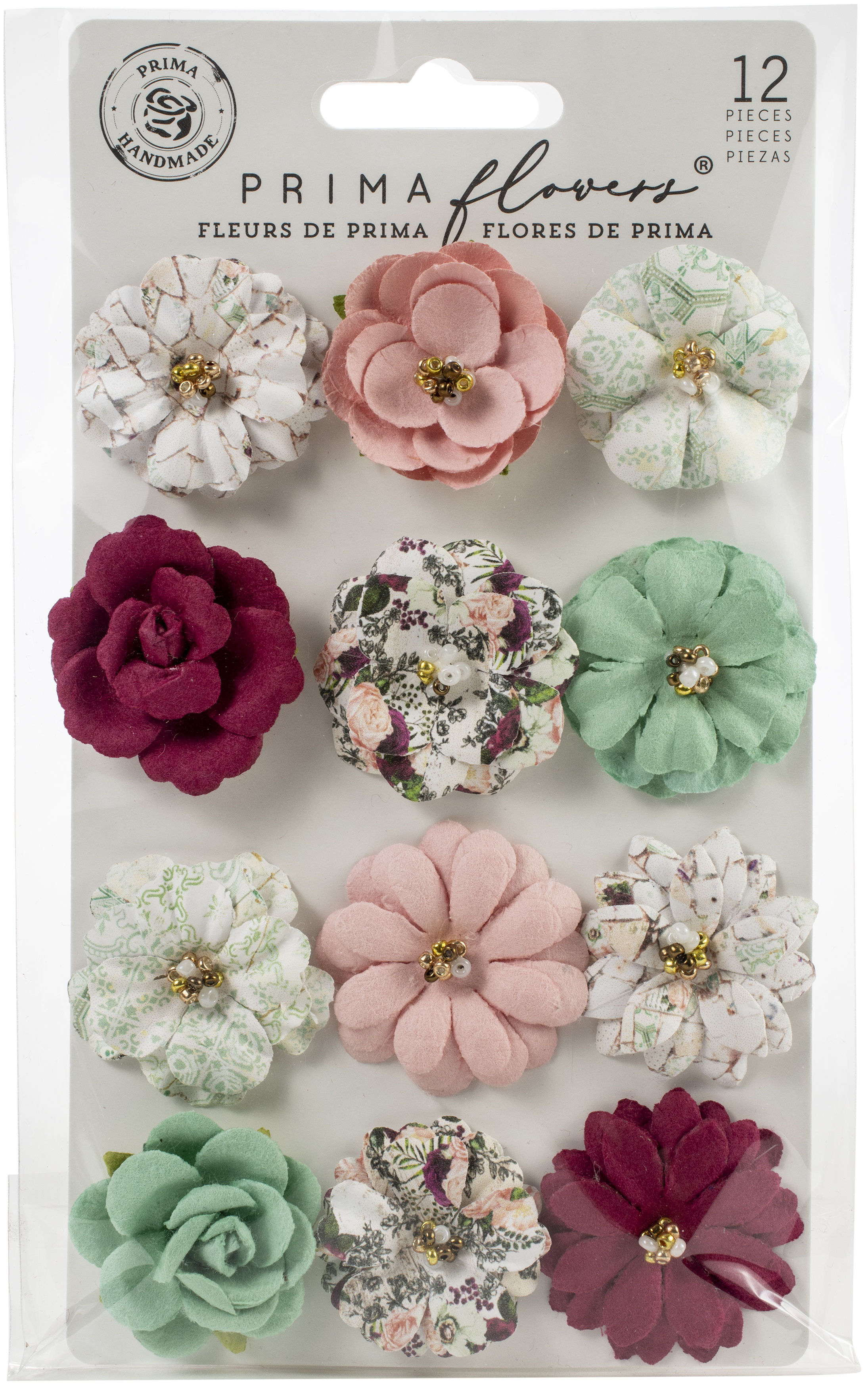 Prima Marketing Mulberry Paper Flowers-Turquoise/Pretty Mosaic
