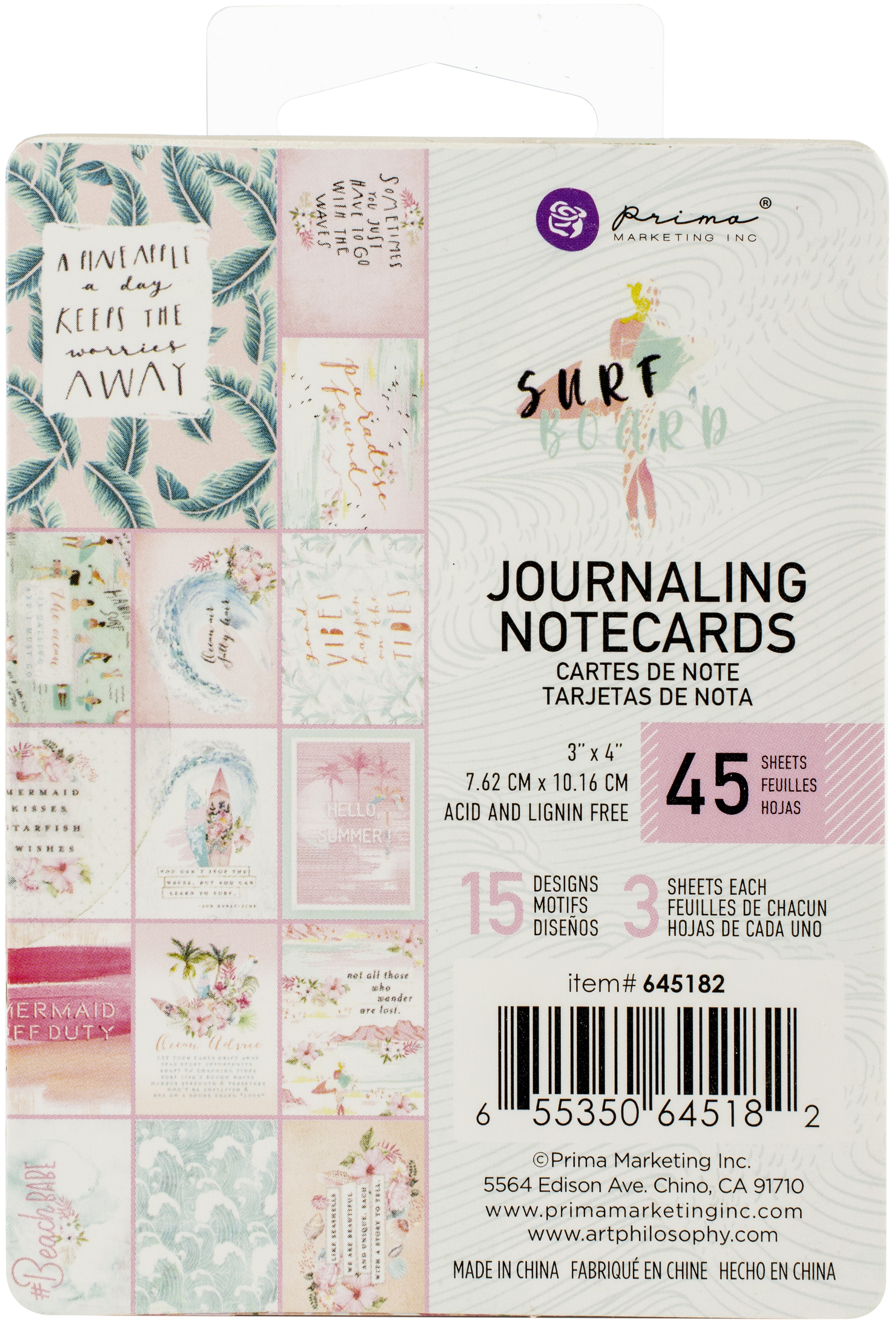 Surfboard Journaling Cards 3X4