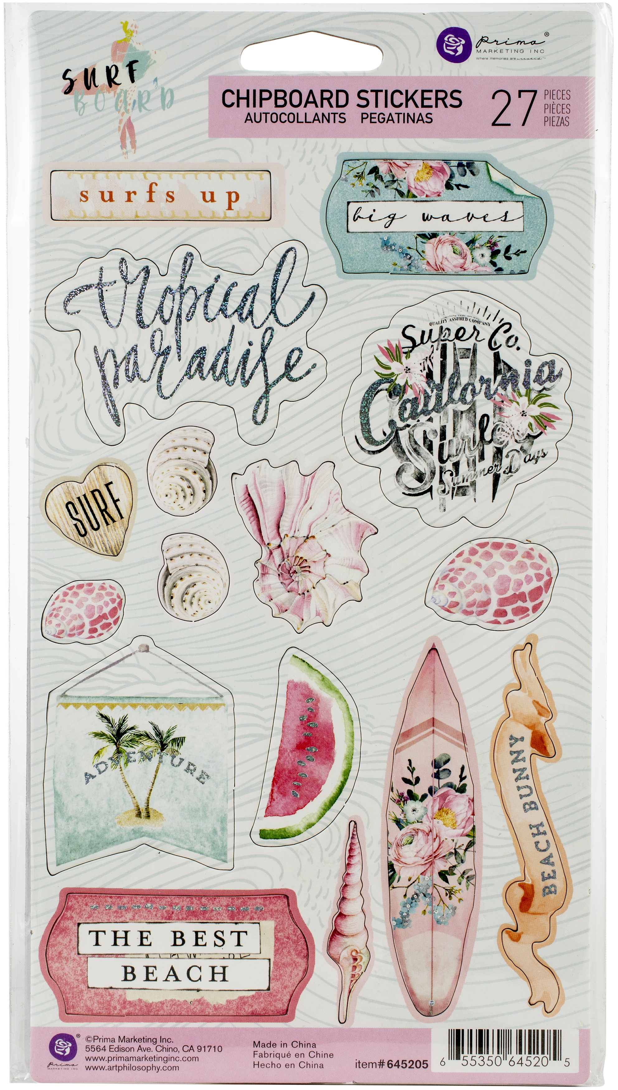 Surfboard Chipboard Stickers 27/Pkg-Icons W/Foil Accents