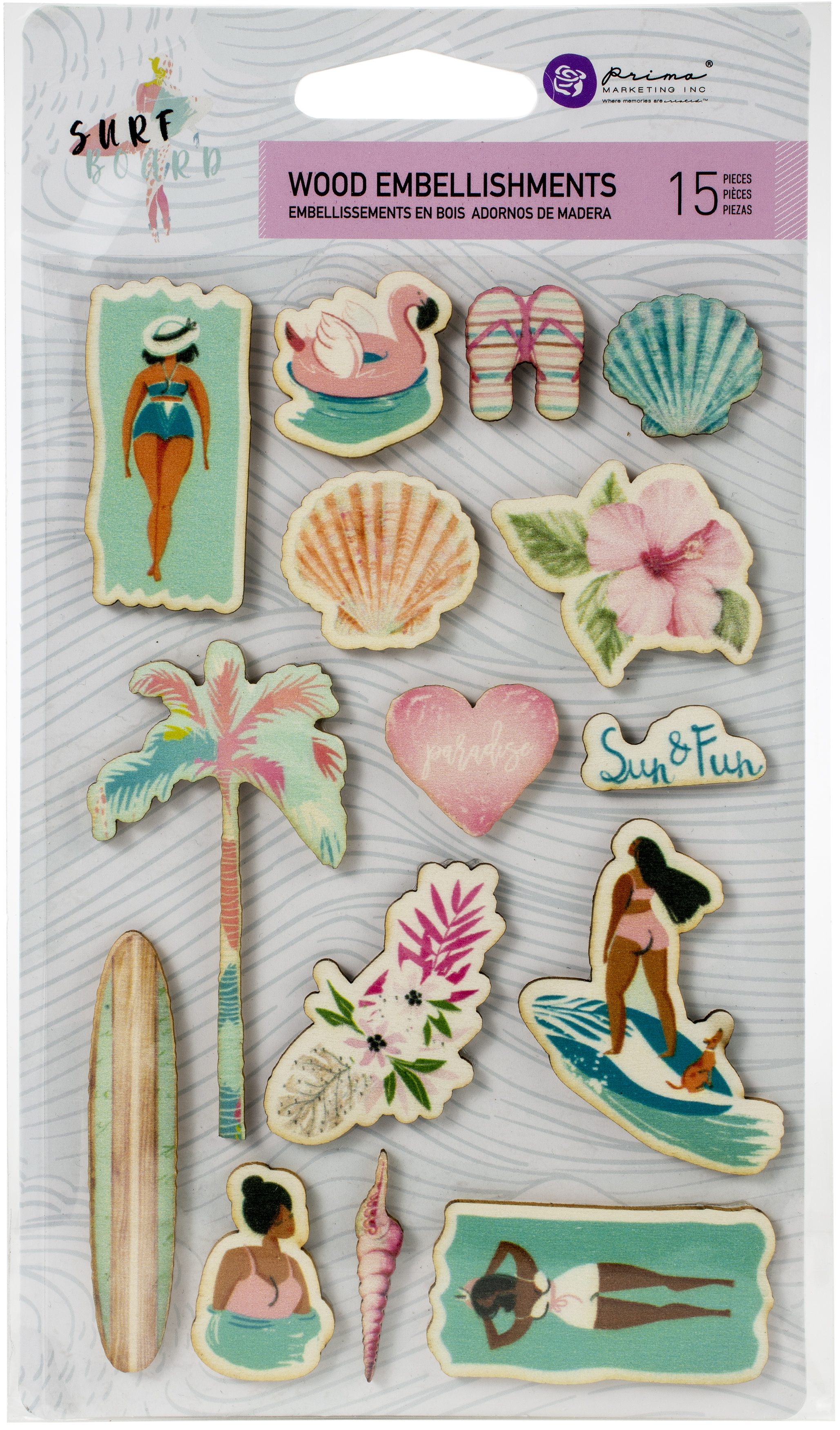Surfboard Wood Stickers 15/Pkg-