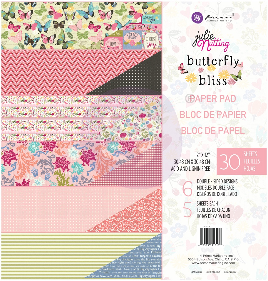 Butterfly Bliss Paper Pad 12X12