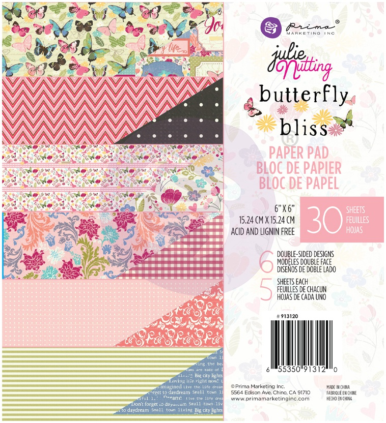 Prima Butterfly Bliss Paper Pad 6x6