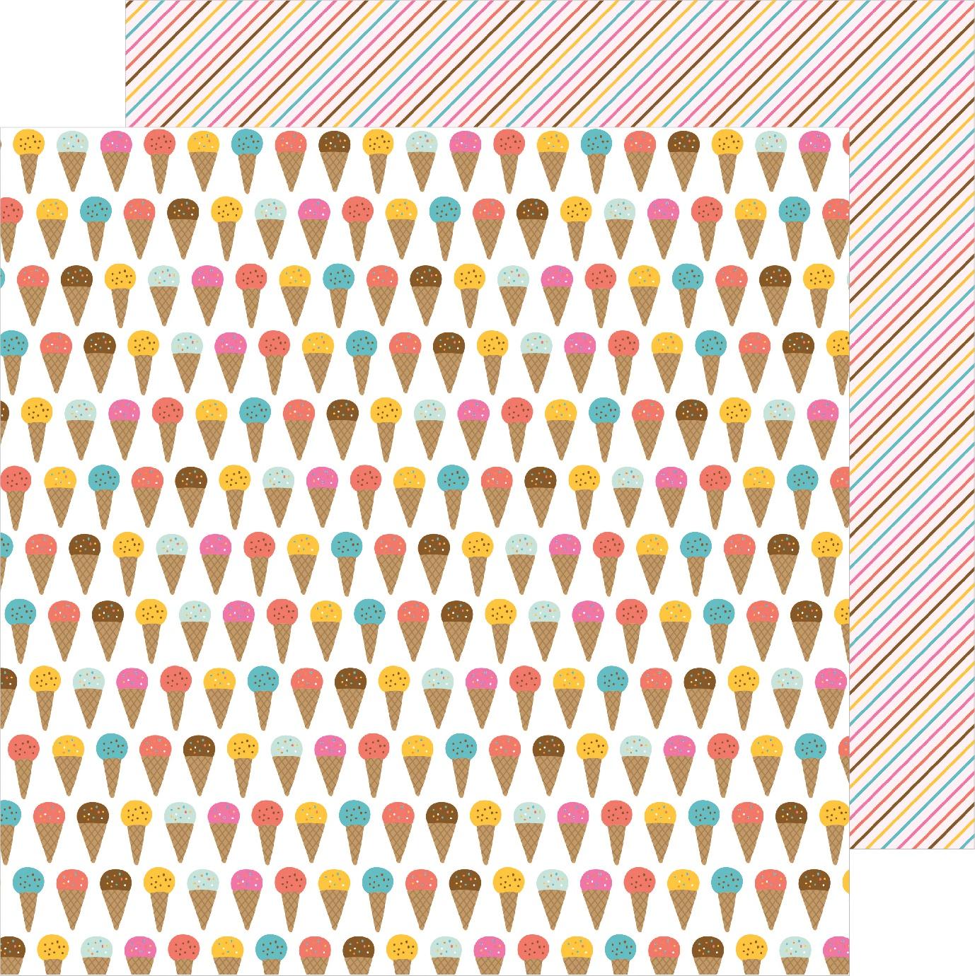 Sun & Fun Double-Sided Cardstock 12X12-Ice Cream Yum