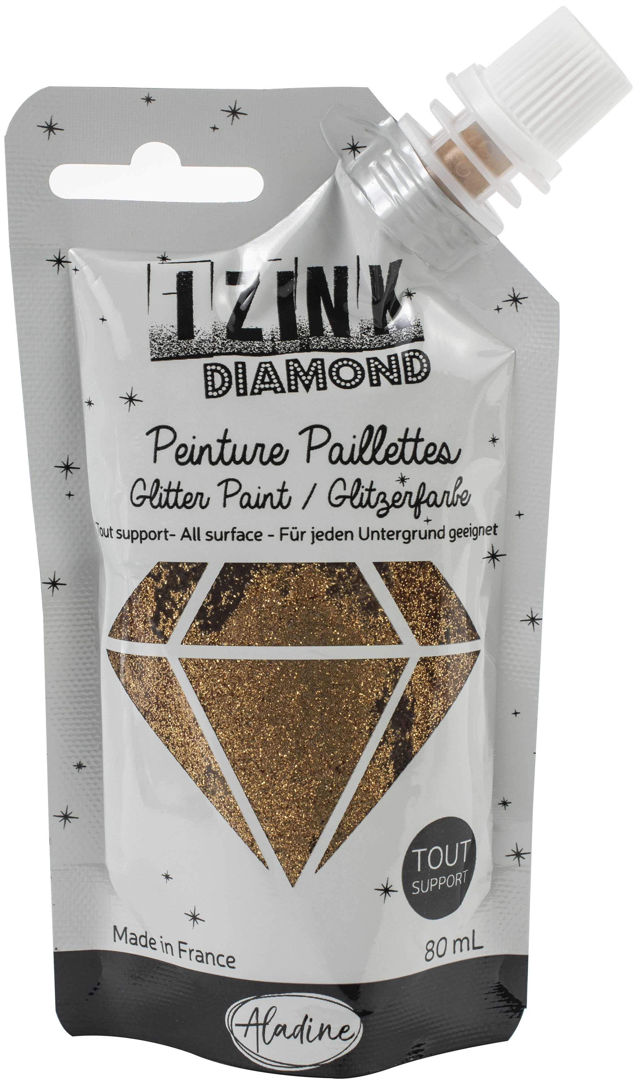 IZINK Diamond Glitter Paint - Dore Cuivre | Gold Copper
