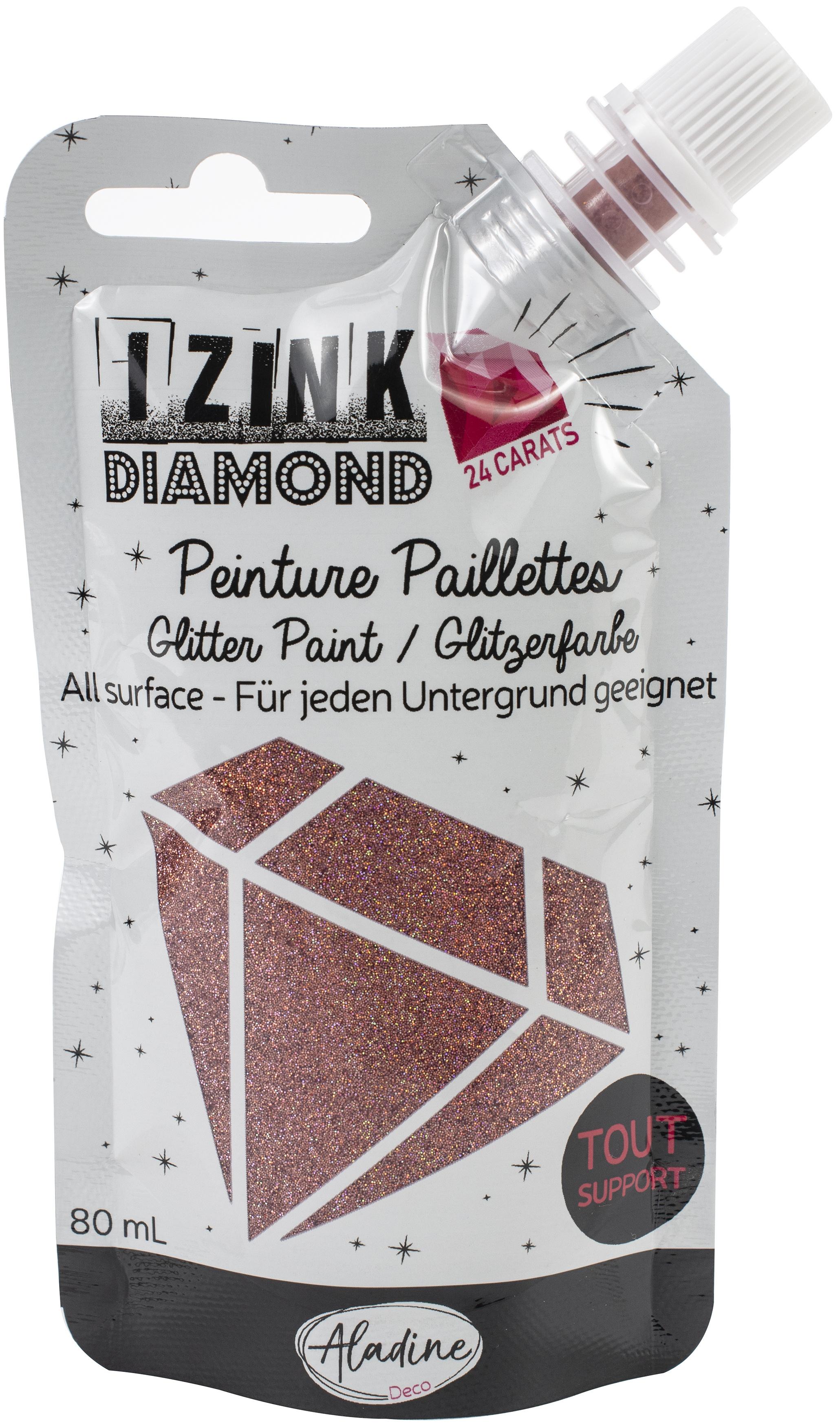 IZINK Diamond 24 Carats Glitter Paint 80ml-Dark Pink
