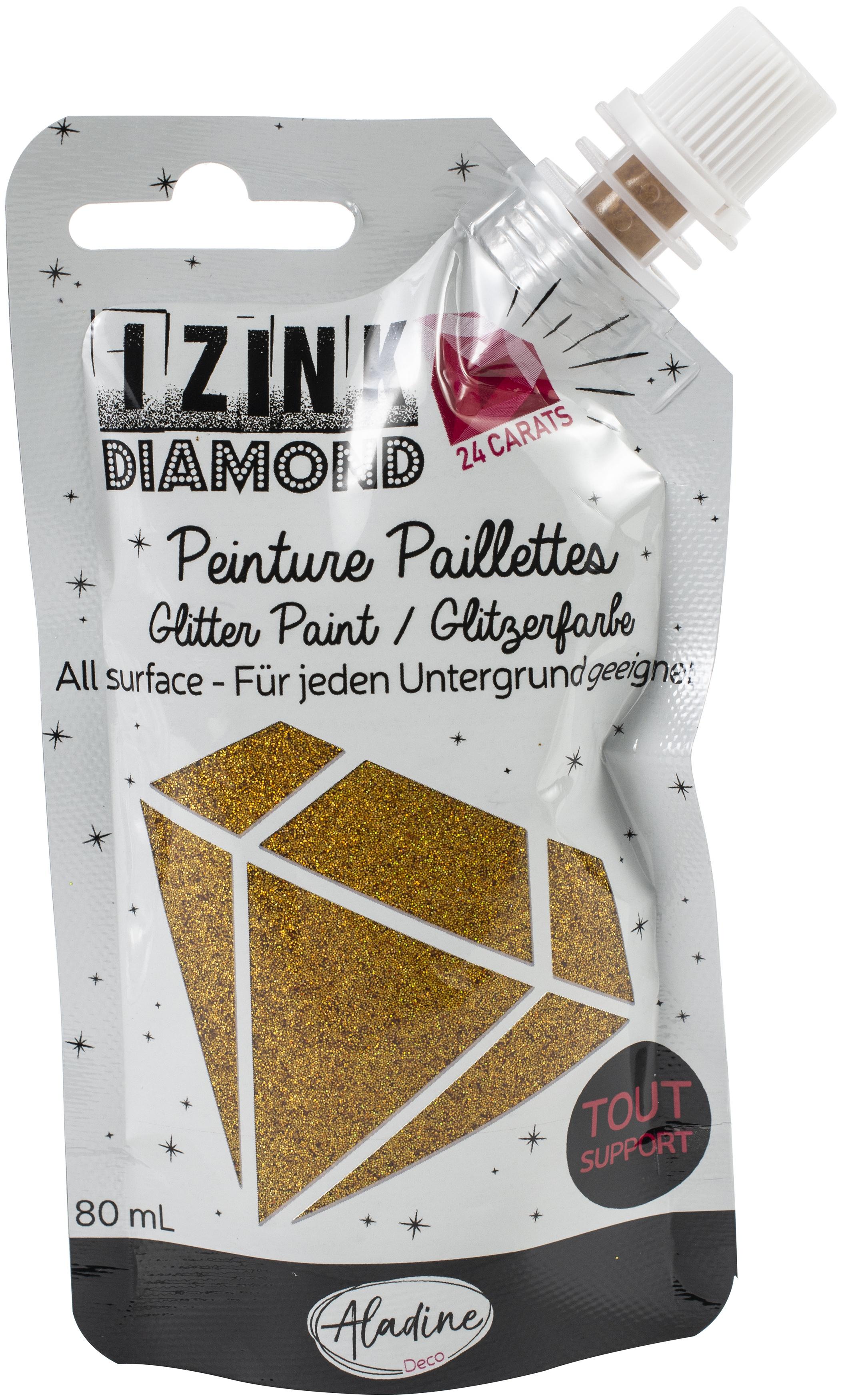 IZINK Diamond 24 Carats Glitter Paint 80ml-Gold
