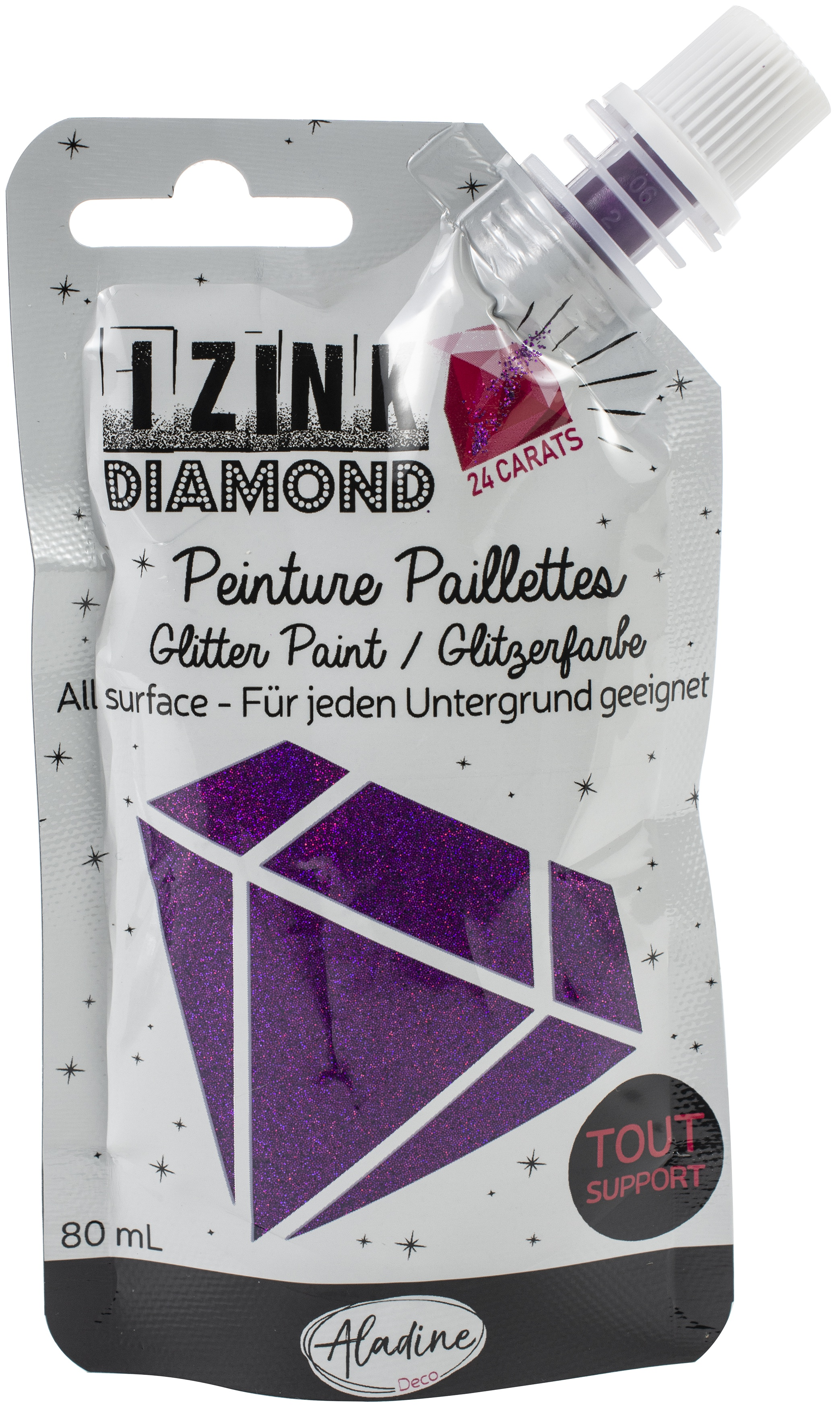 IZINK Diamond 24 Carats Glitter Paint 80ml-Purple