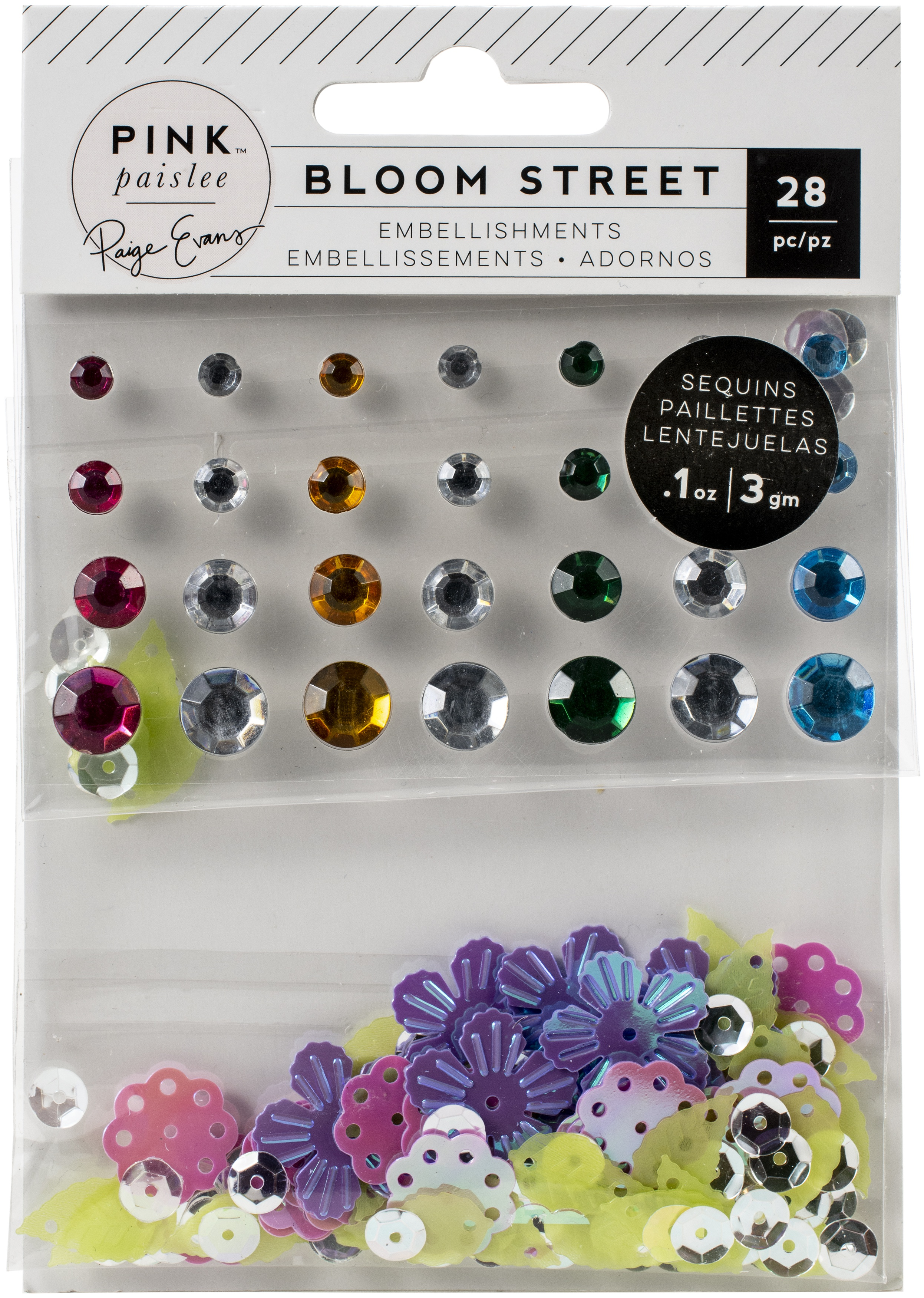 Bloom Street Mixed Embellishments-Adhesive Gems & Shaped Sequins