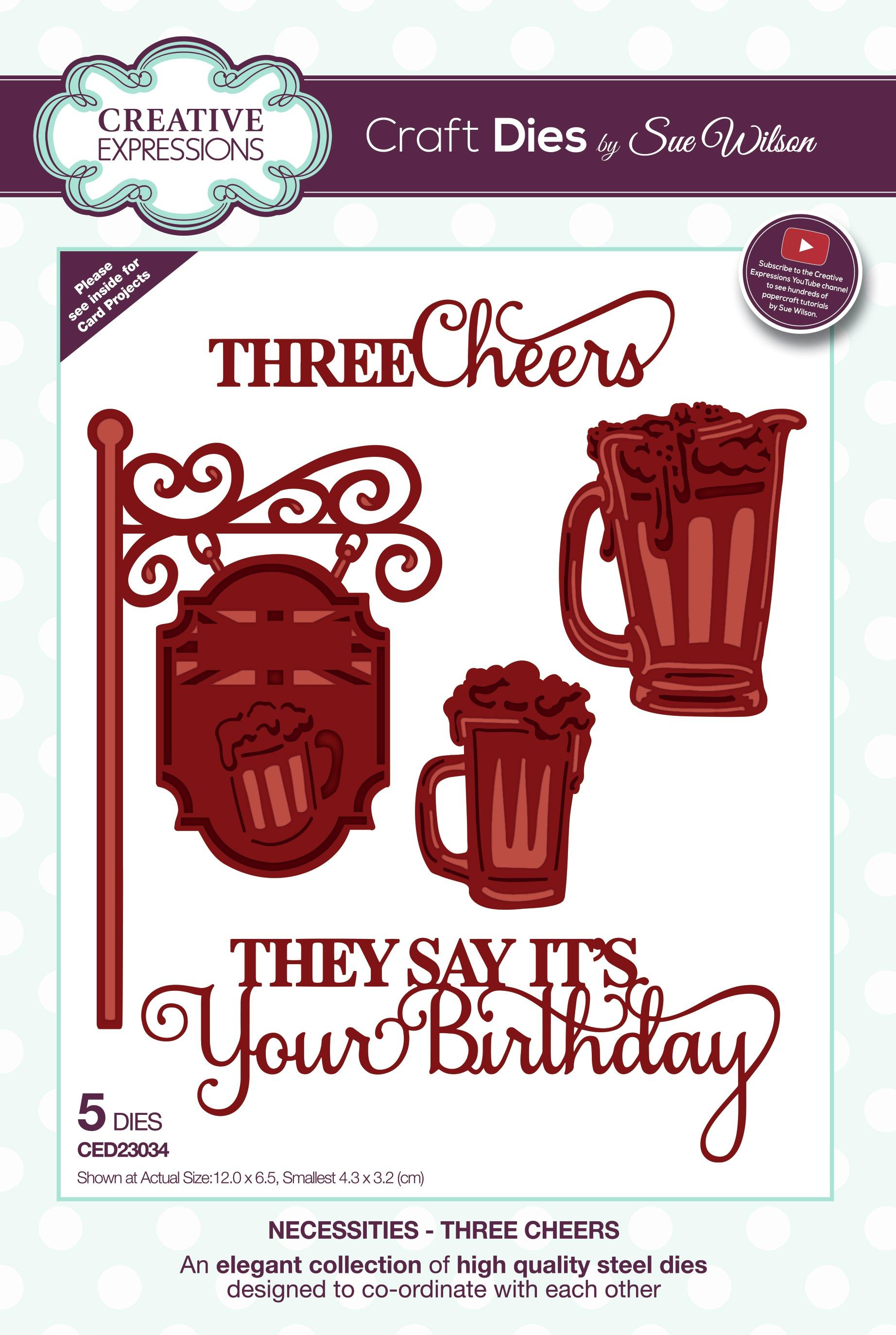 Creative Expressions Craft Dies By Sue Wilson-Necessities- Three Cheers