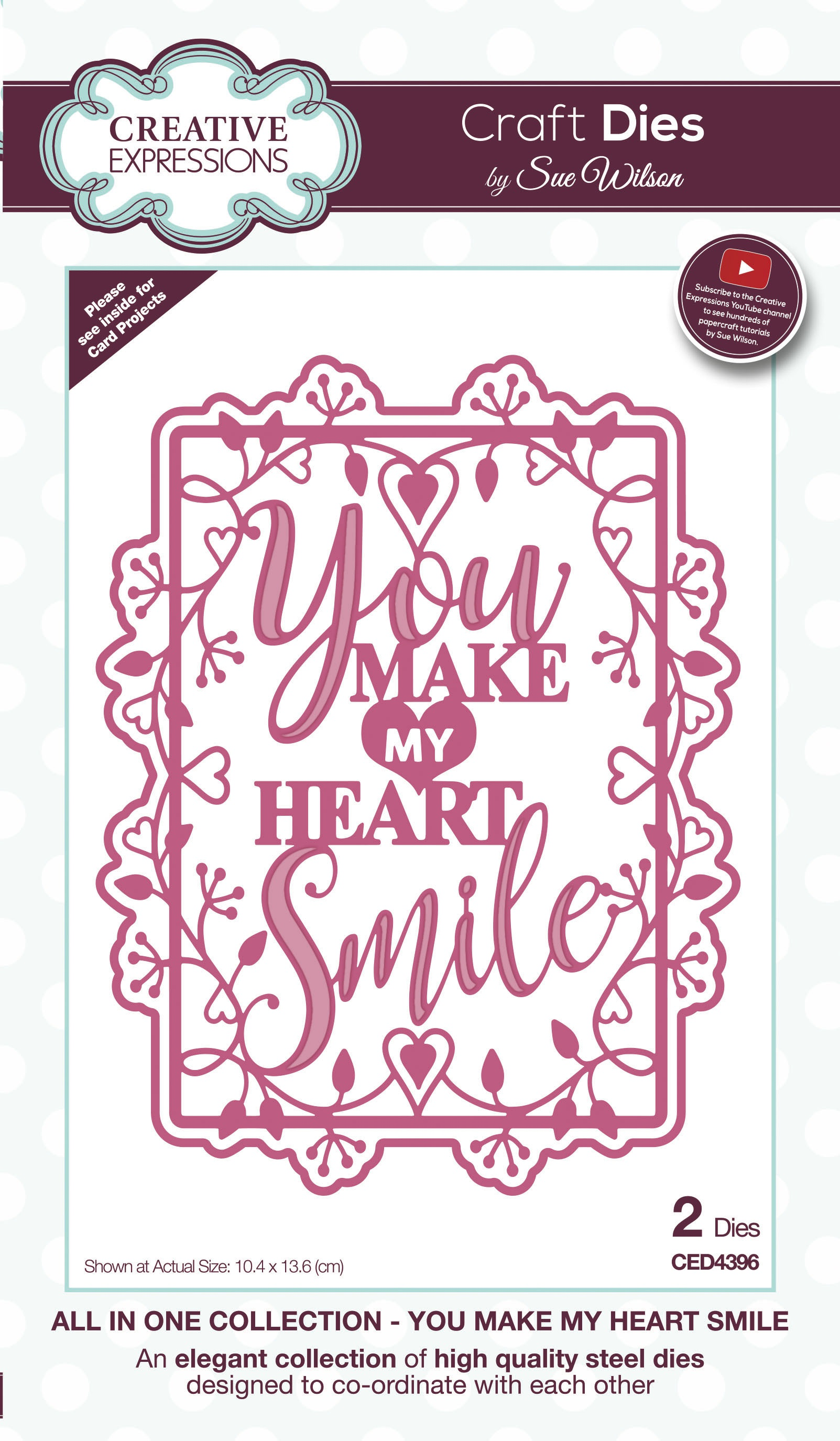Creative Expressions Craft Dies By Sue Wilson-All In One- You Make My Heart Smil...