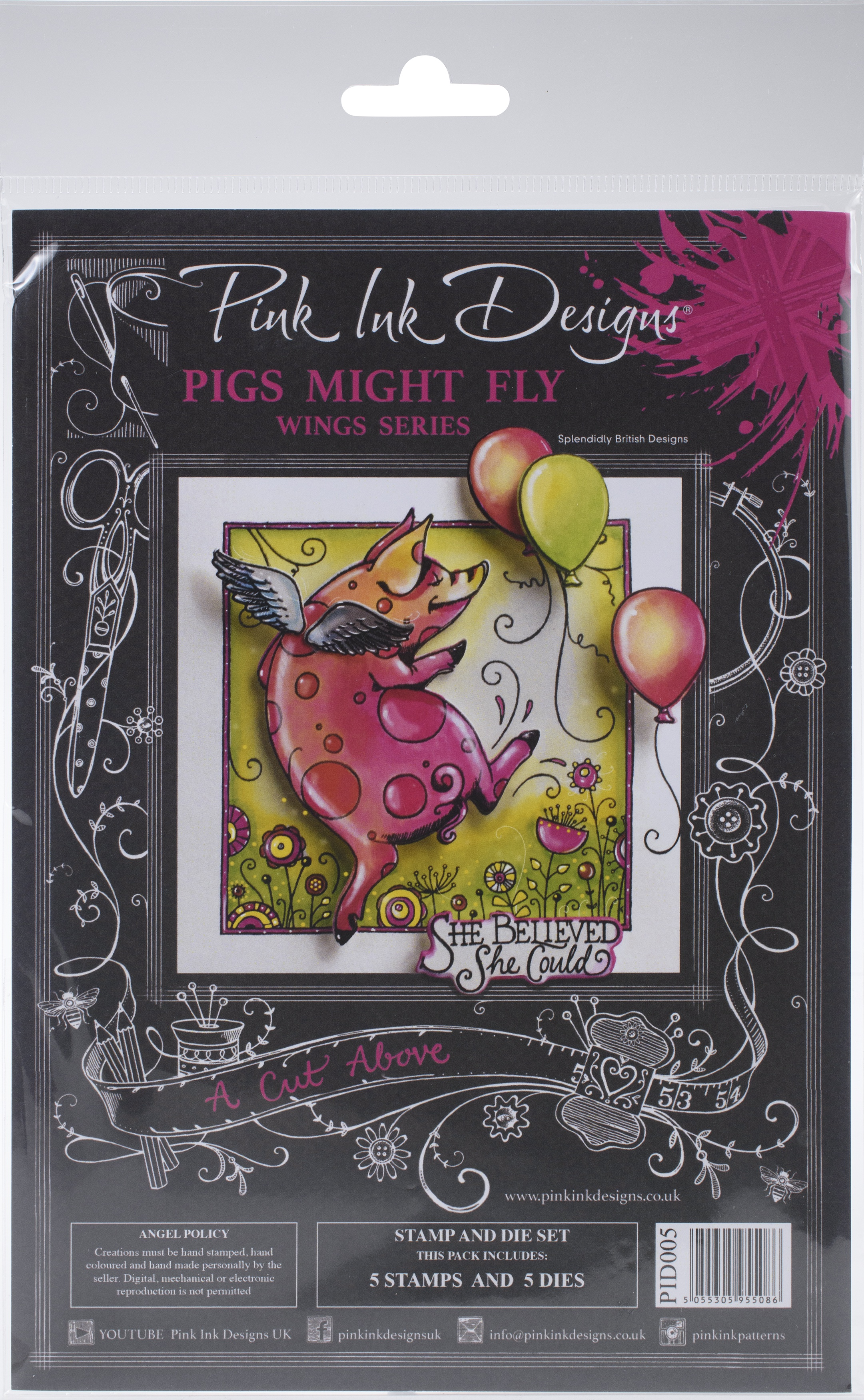 Pink Ink Designs Stamp And Die Set-A Cut Above- Pigs Might Fly