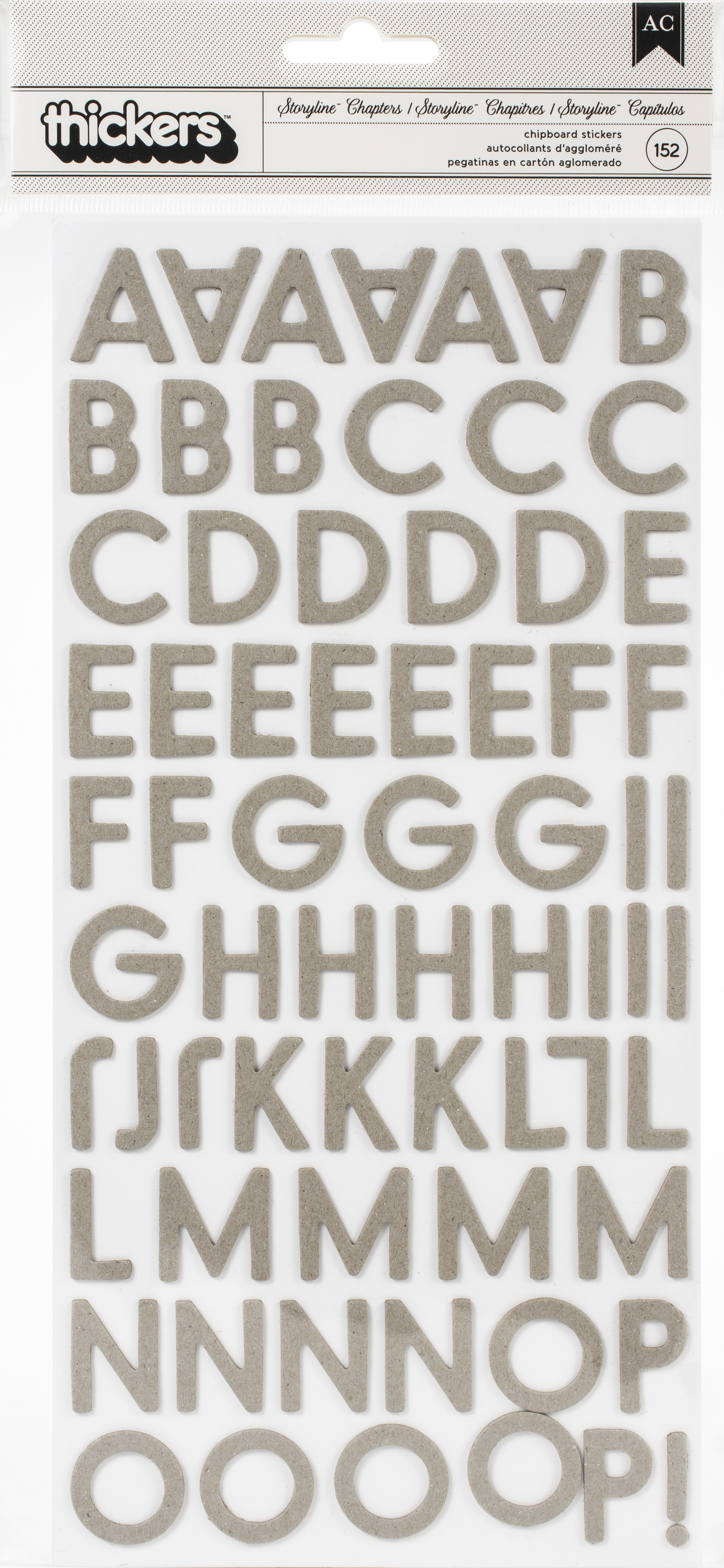 Heidi Swapp Storyline Chapters Thickers Stickers 175/Pkg-Alphabet/Chipboard