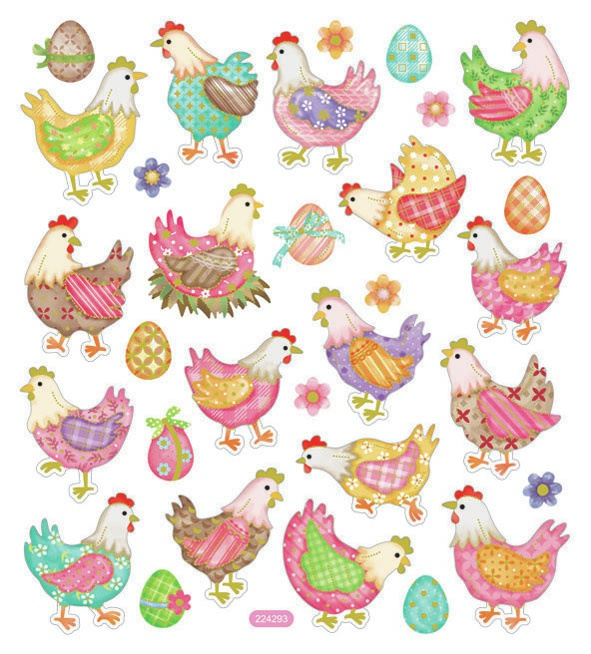 Sticker King Stickers-Chickens In Plaid