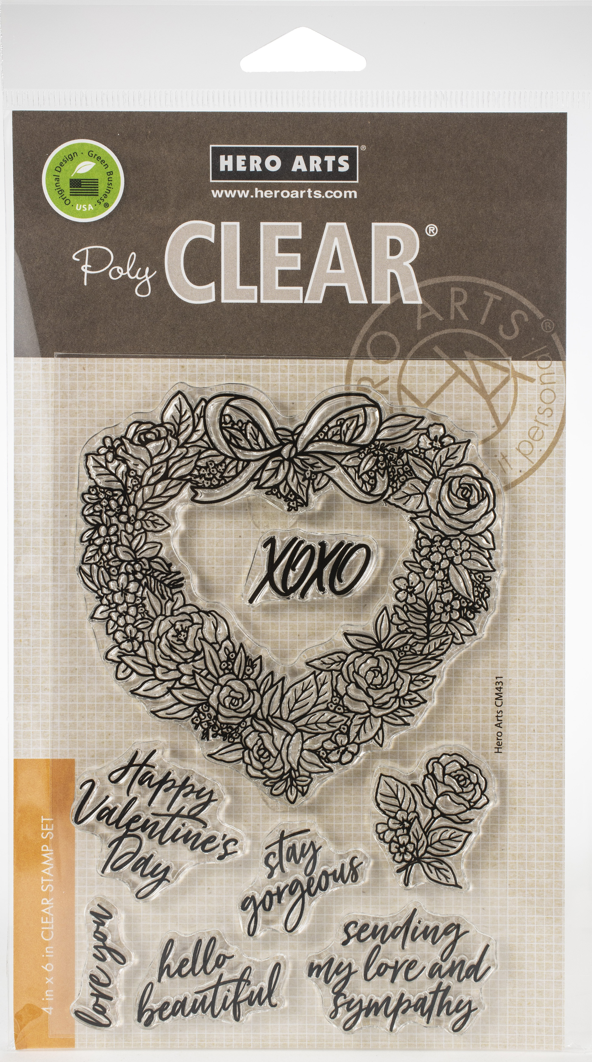 Floral Heart Wreath Stamp Set