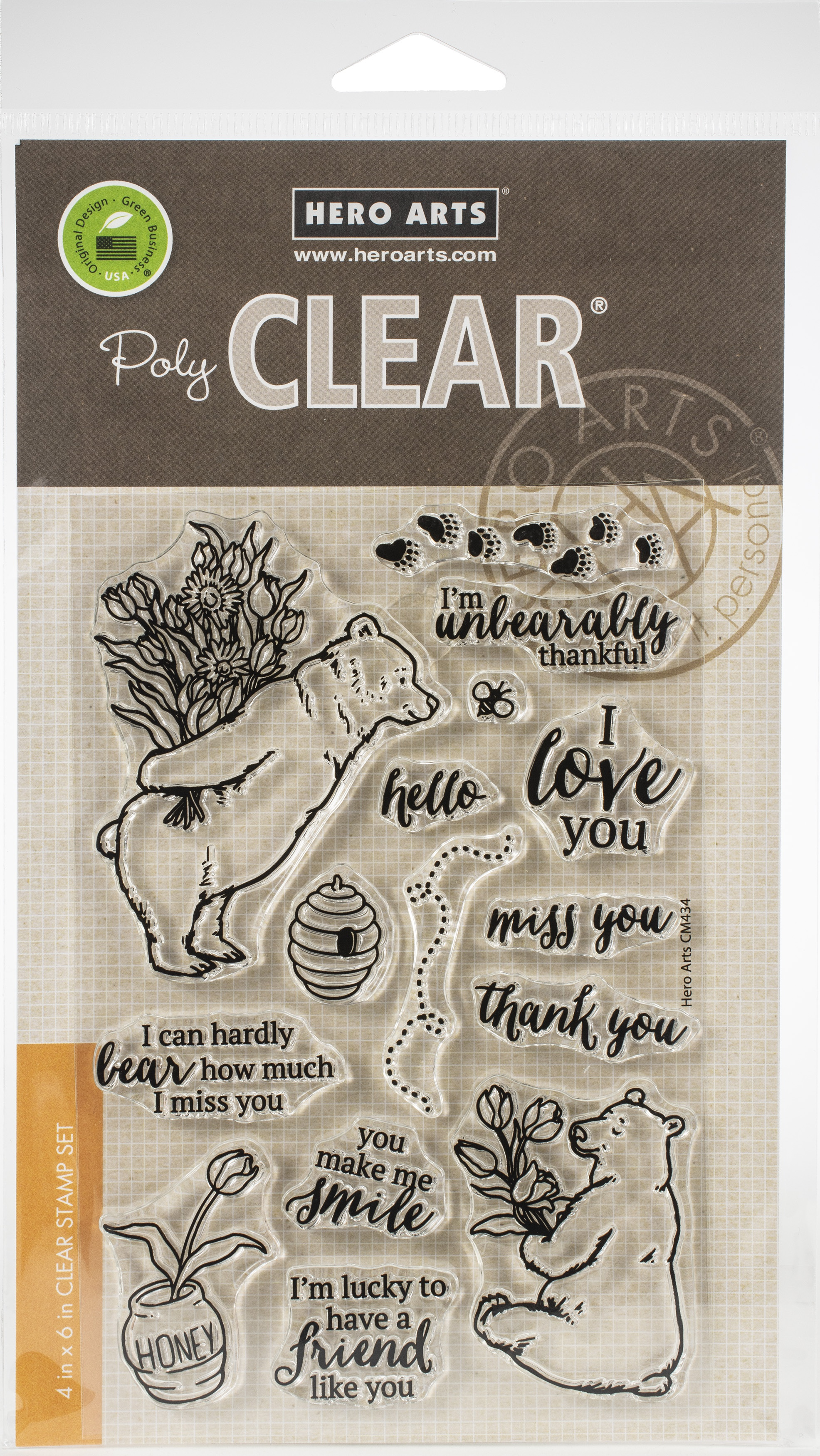 Hero Arts die and Clear Stamps 4X6-Unbearably Thankful