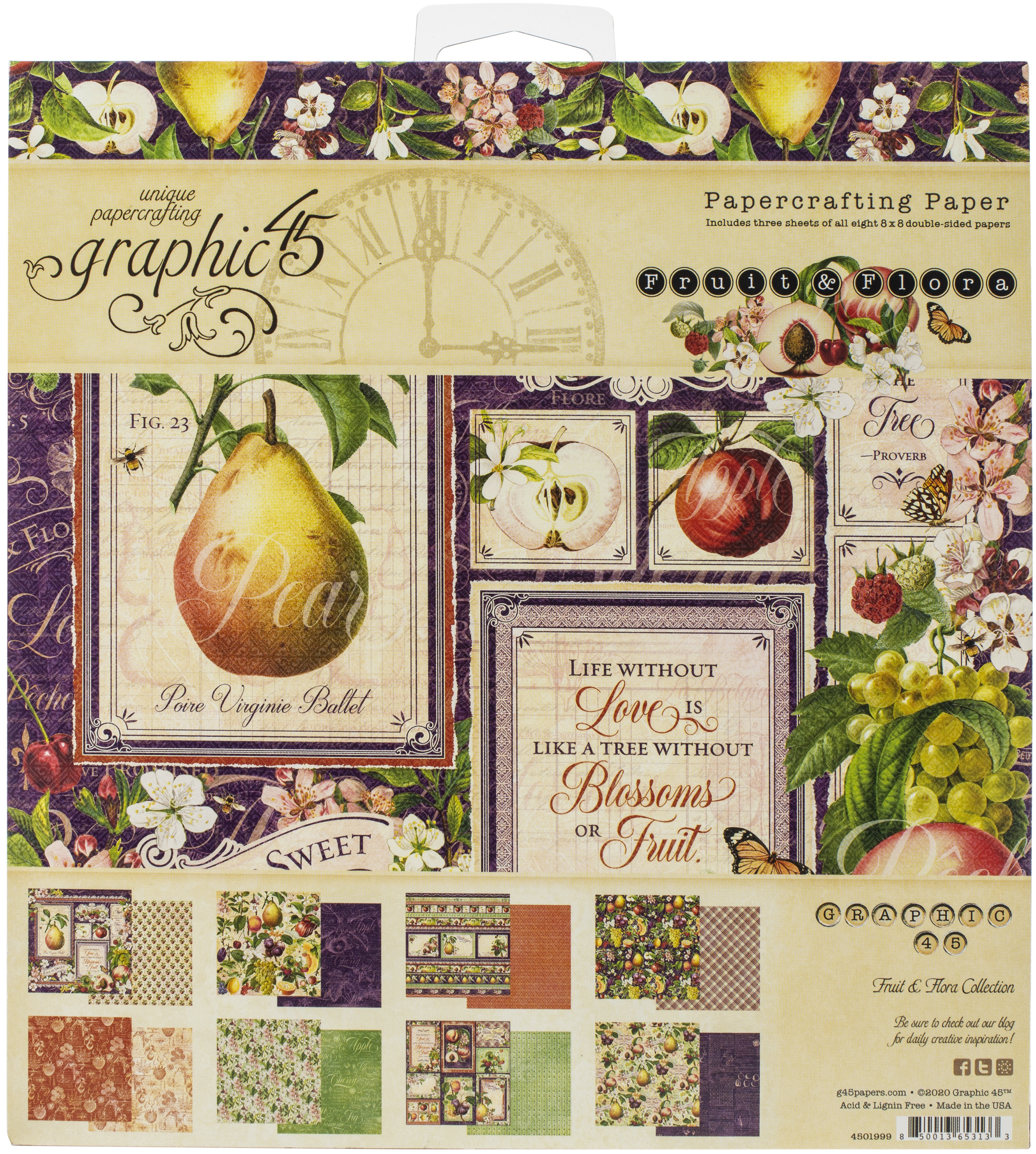 Graphic 45 Double-Sided Paper Pad 8X8 24/Pkg-Fruit & Flora