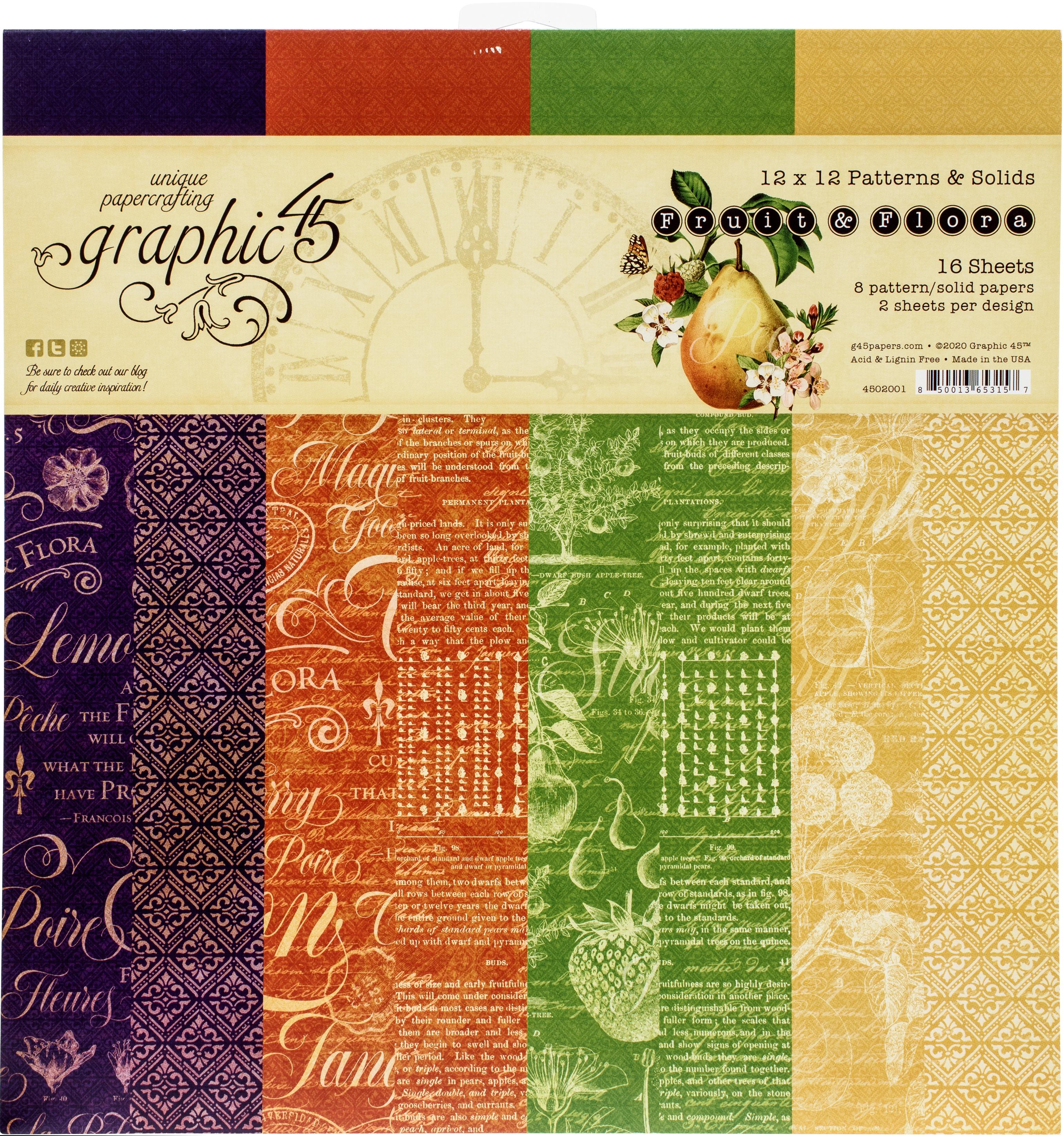 Fruit & Flora Patterns & Solids Paper Pad 12X12 16/Pkg