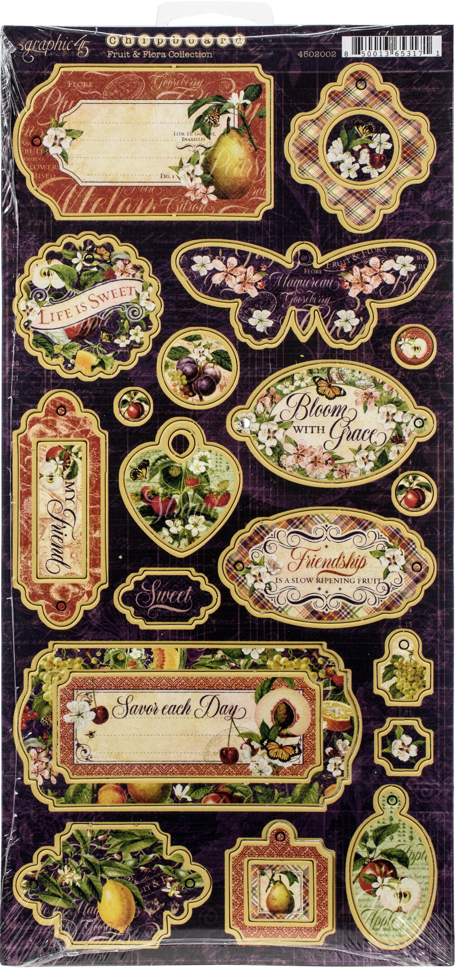 Fruit & Flora Chipboard Die-Cuts 6X12 Sheet-