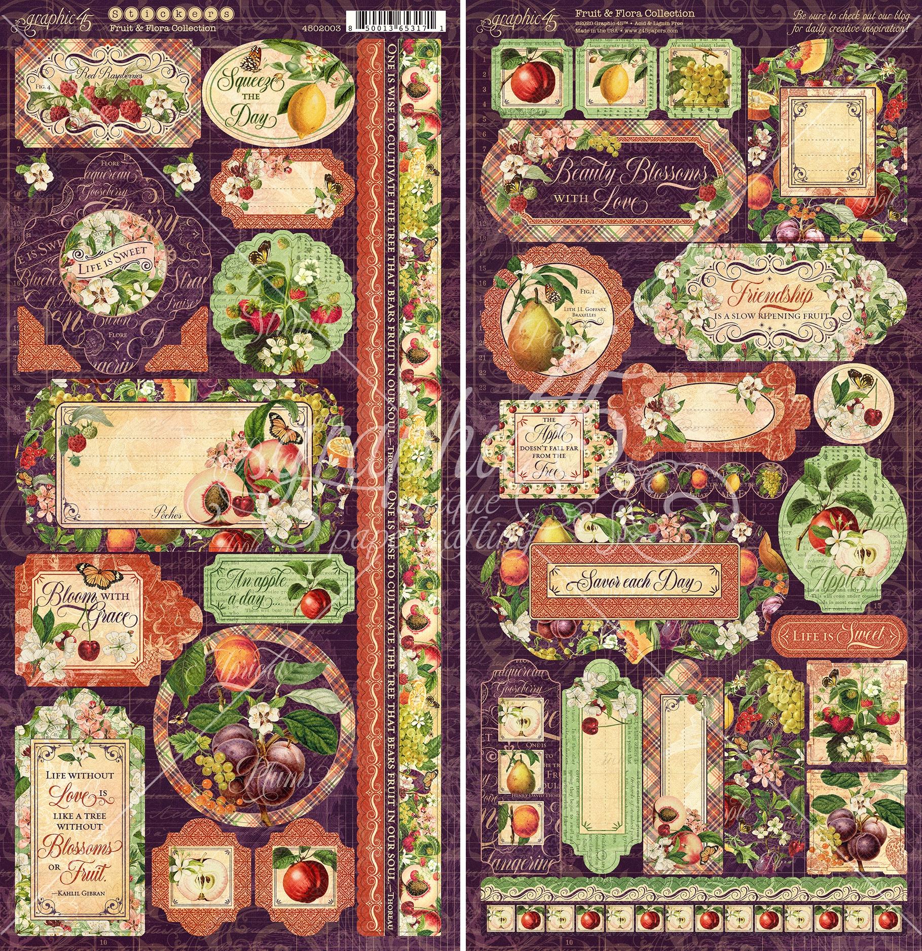 Fruit & Flora Cardstock Stickers 12X6