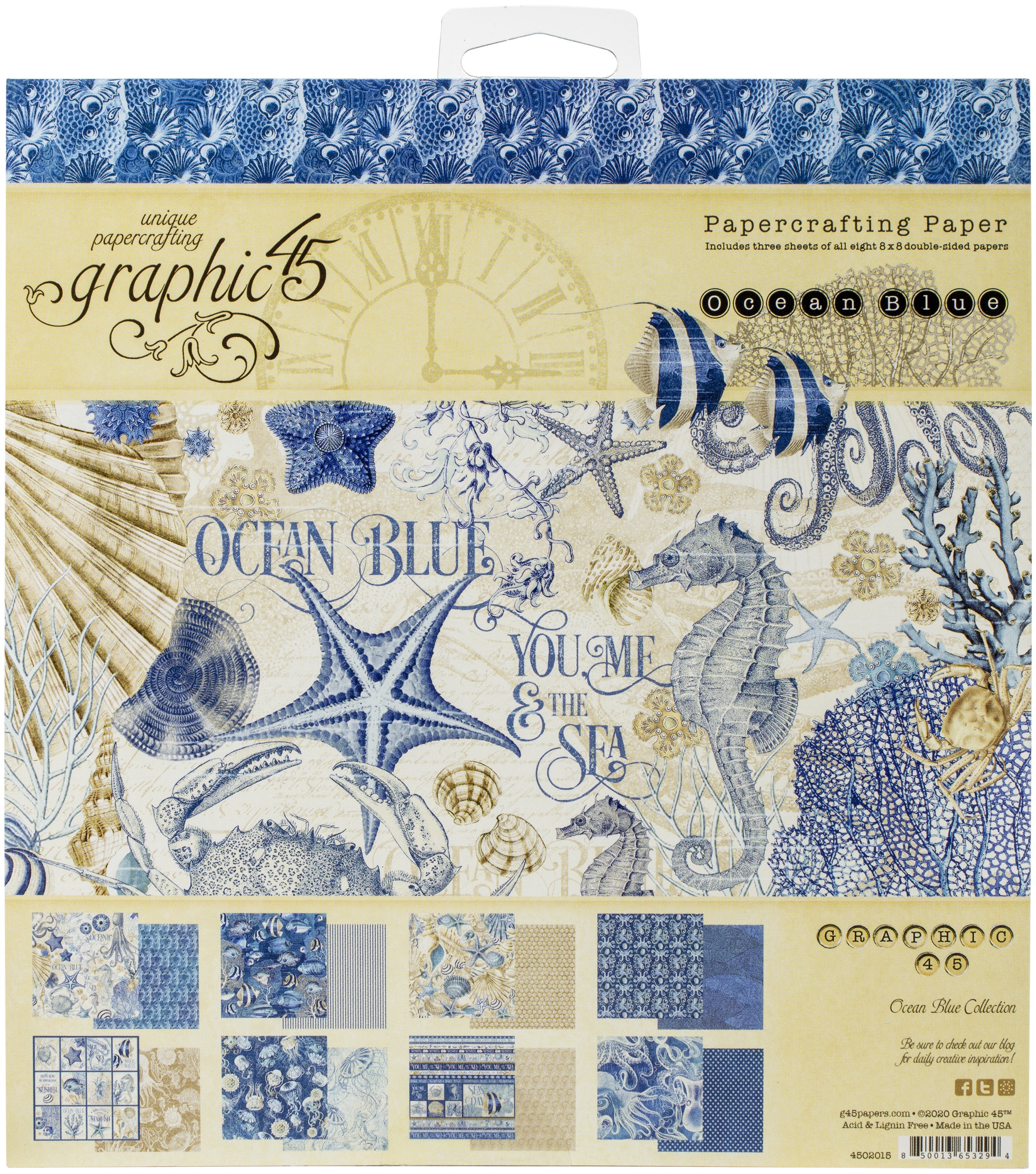 Graphic 45 Double-Sided Paper Pad 8X8 24/Pkg-Ocean Blue