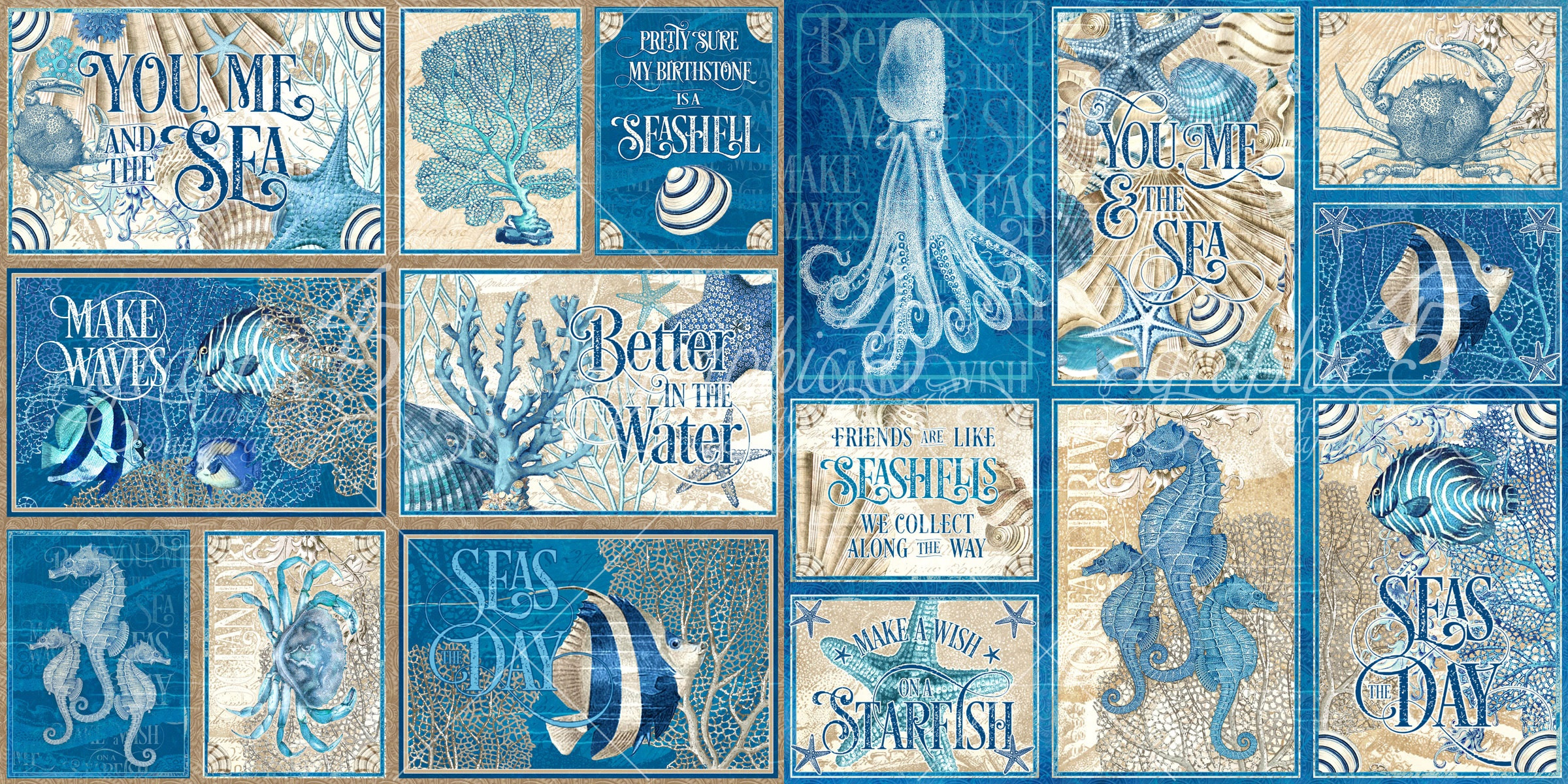 Ocean Blue Ephemera Cards