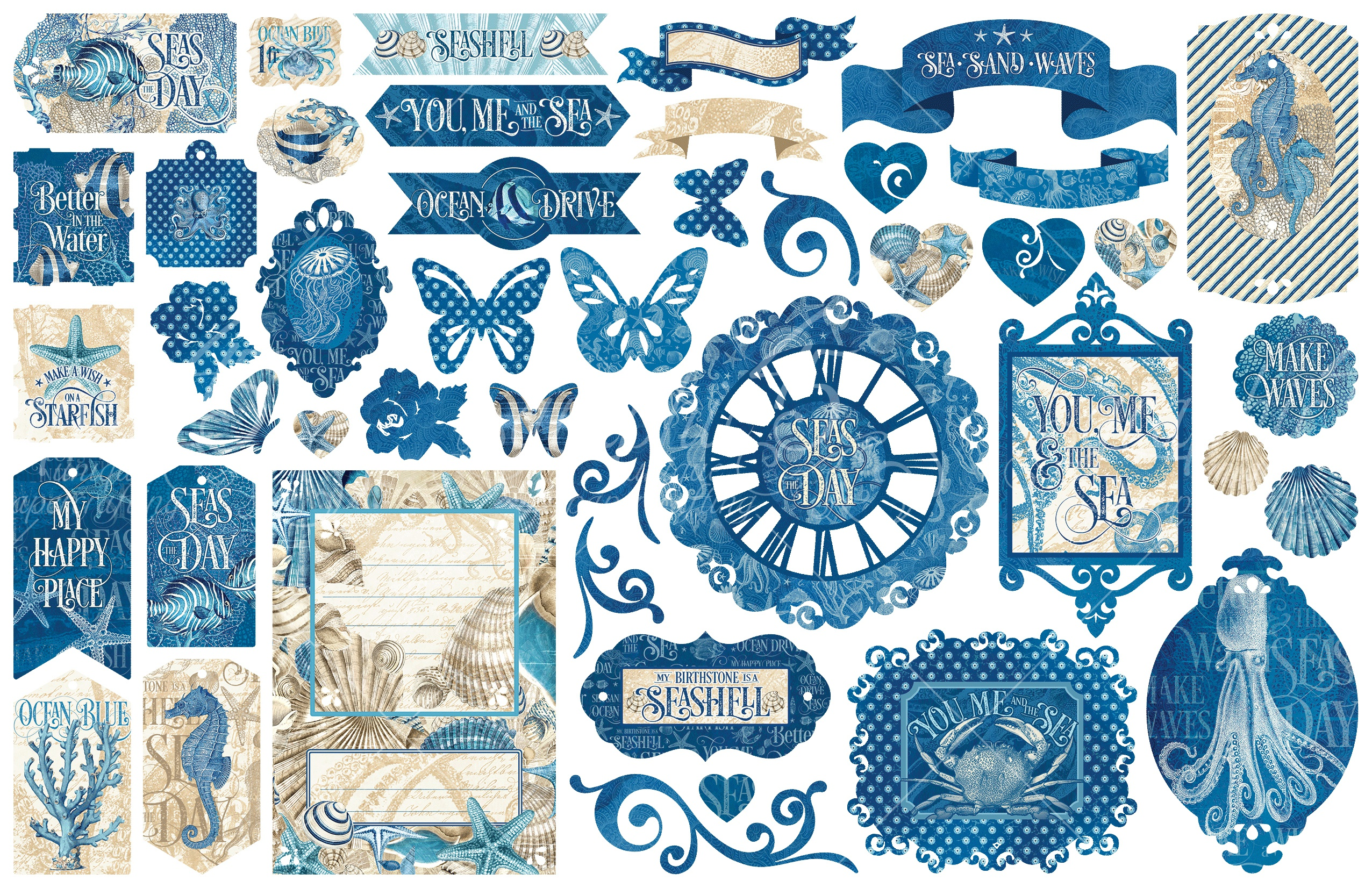 Ocean Blue Cardstock Die-Cut Assortment-