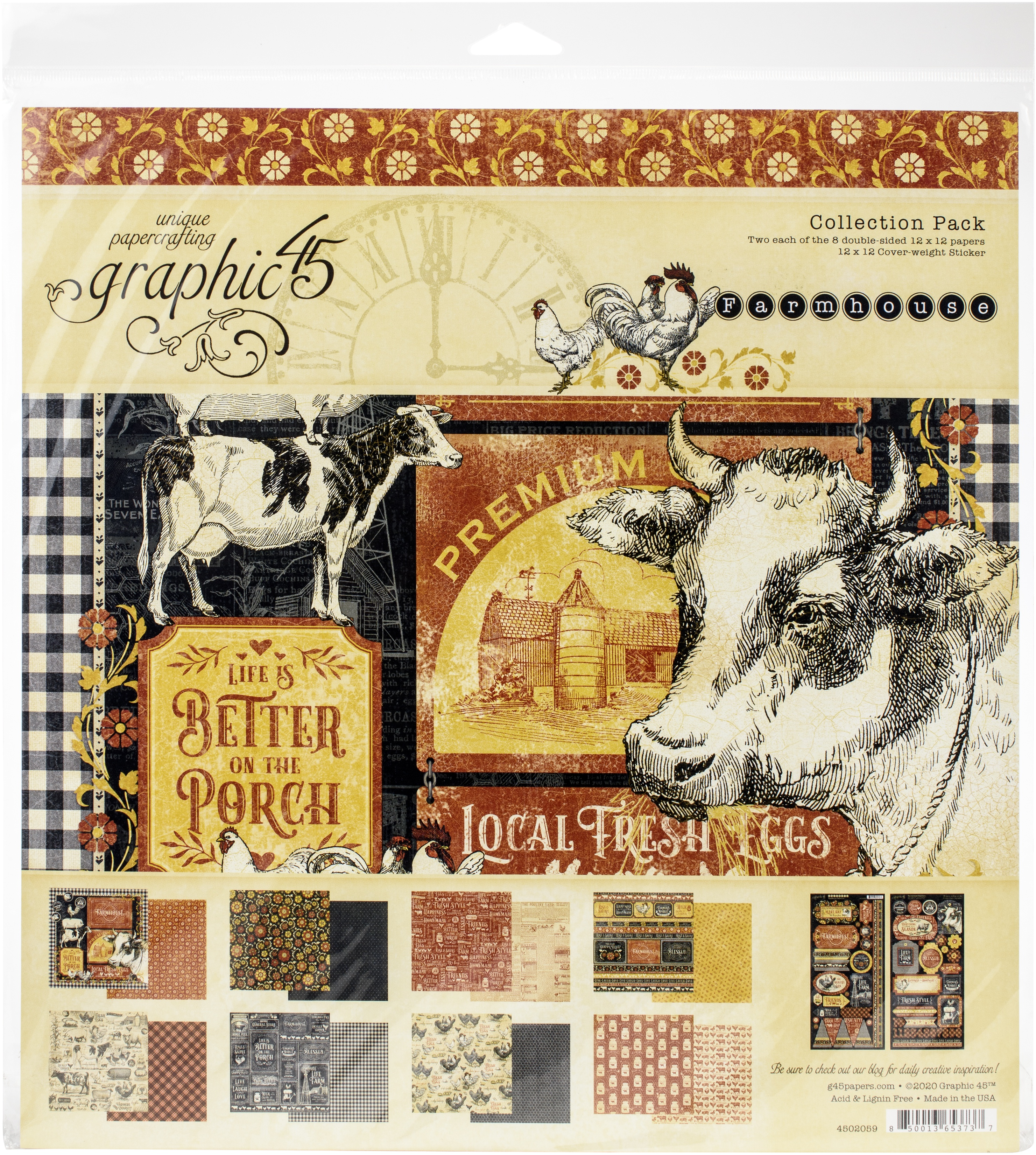 Graphic 45 Collection Pack 12X12-Farmhouse