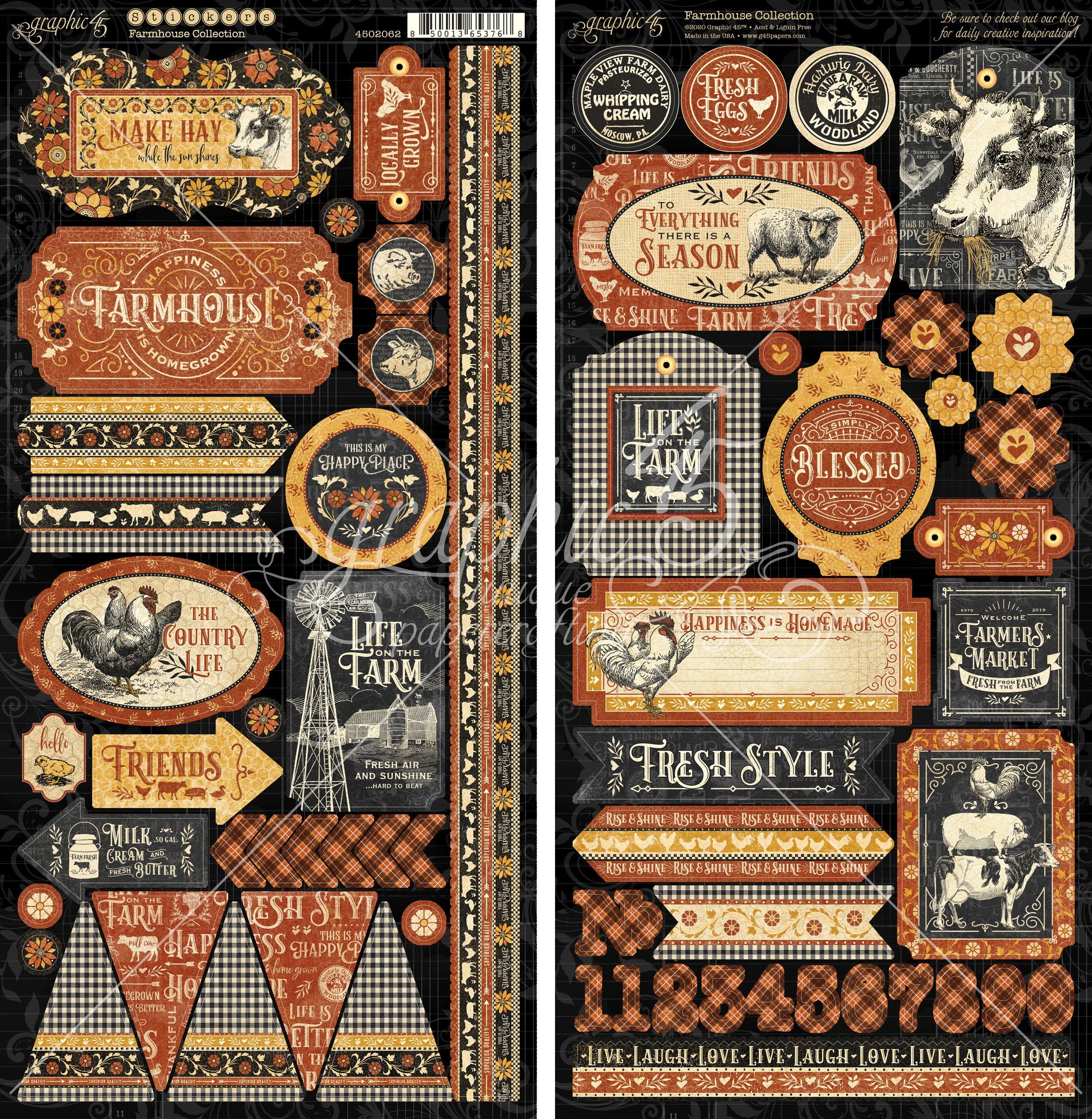 Farmhouse Cardstock Stickers 12X12-