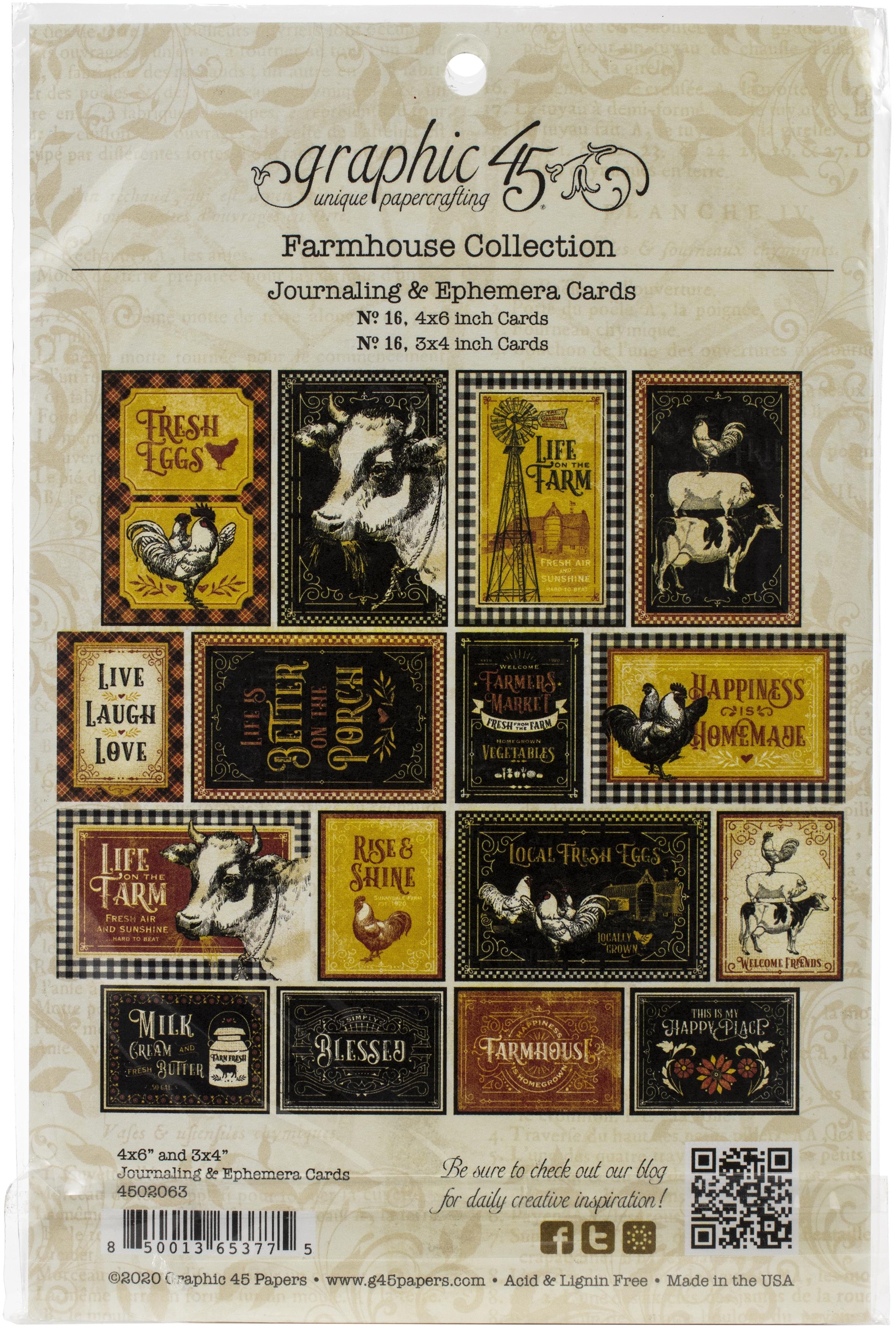 Farmhouse Ephemera Cards-(16) 4X6 & (16) 3X4