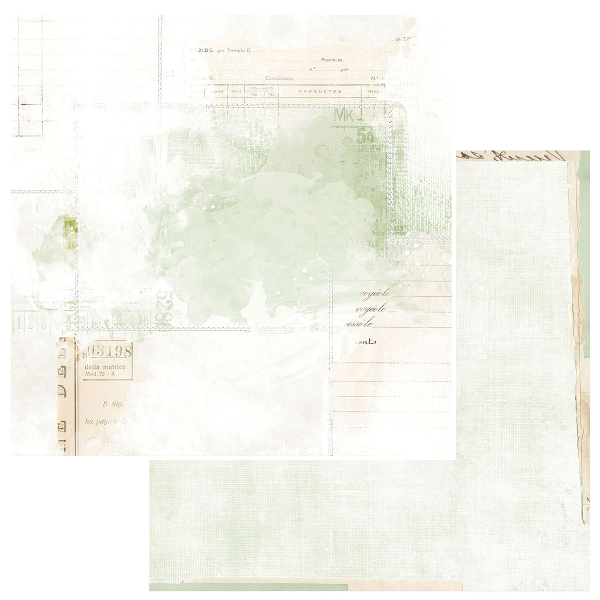 49 And Market - Vintage Artistry Sage - ECHOES - 12x12 Double-Sided Paper